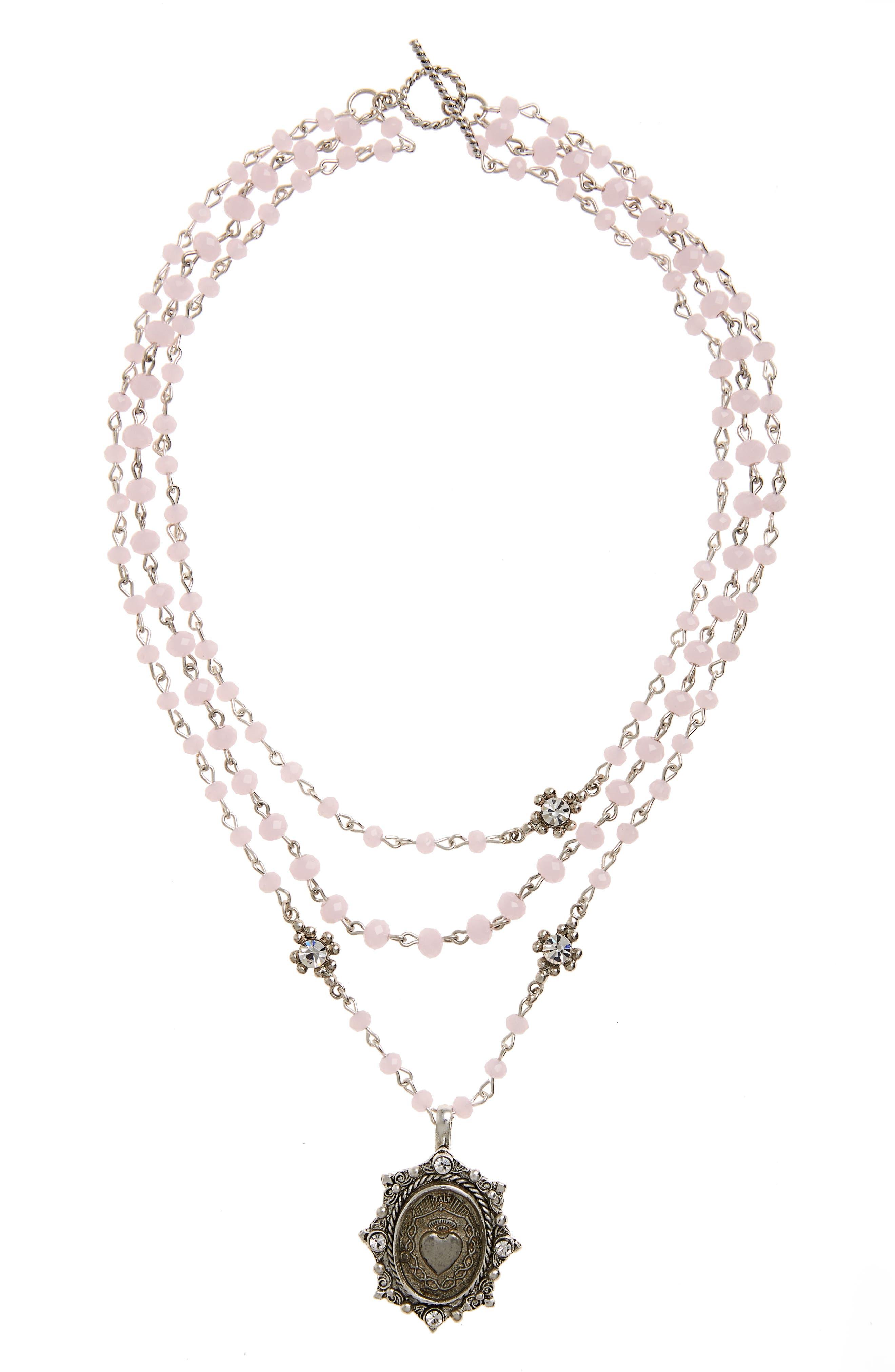 VIRGINS SAINTS & ANGELS Heart Magdalena Multistrand Necklace