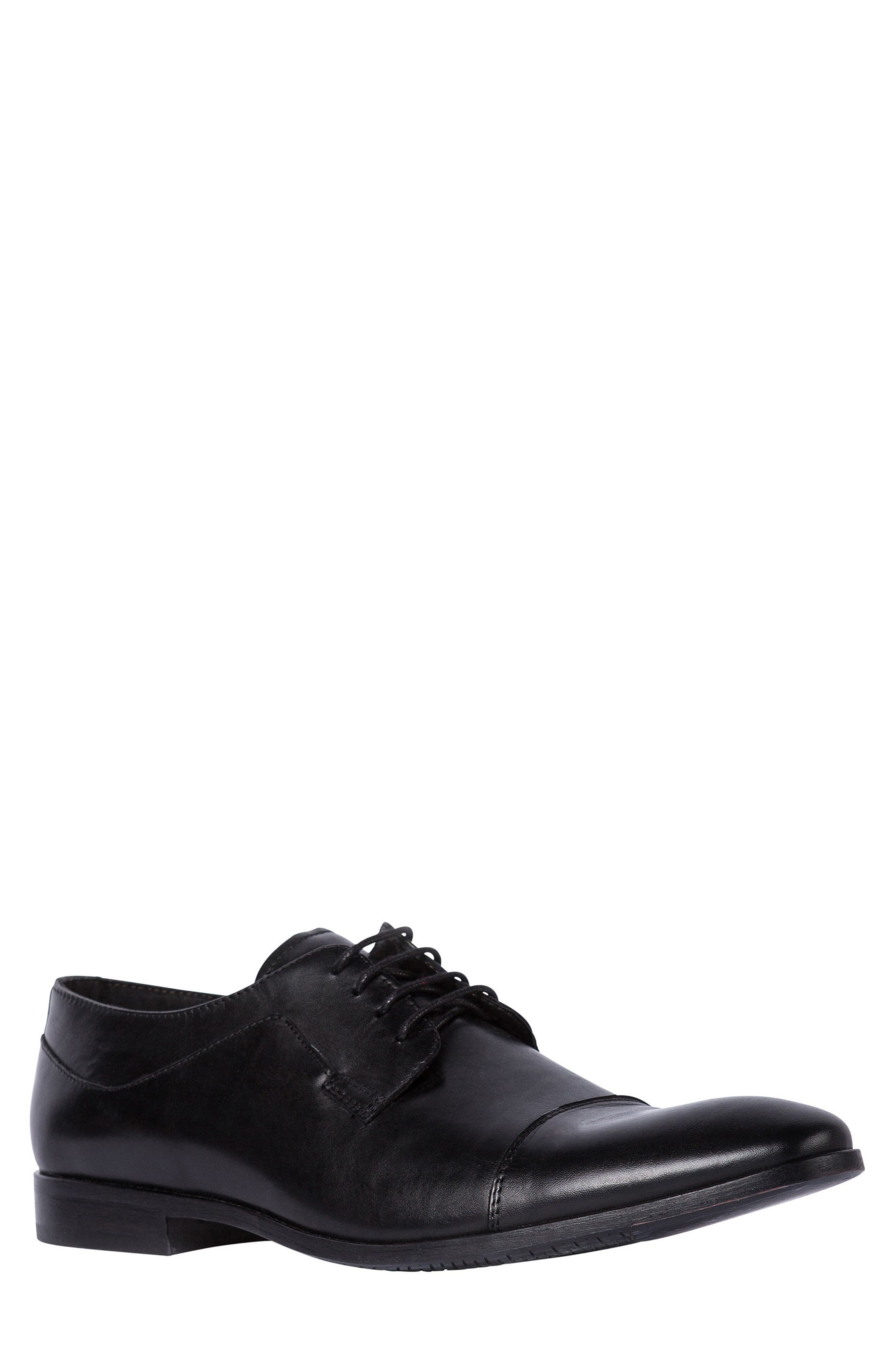 Admiral's Way Cap Toe Derby,                             Main thumbnail 1, color,                             Nero Leather