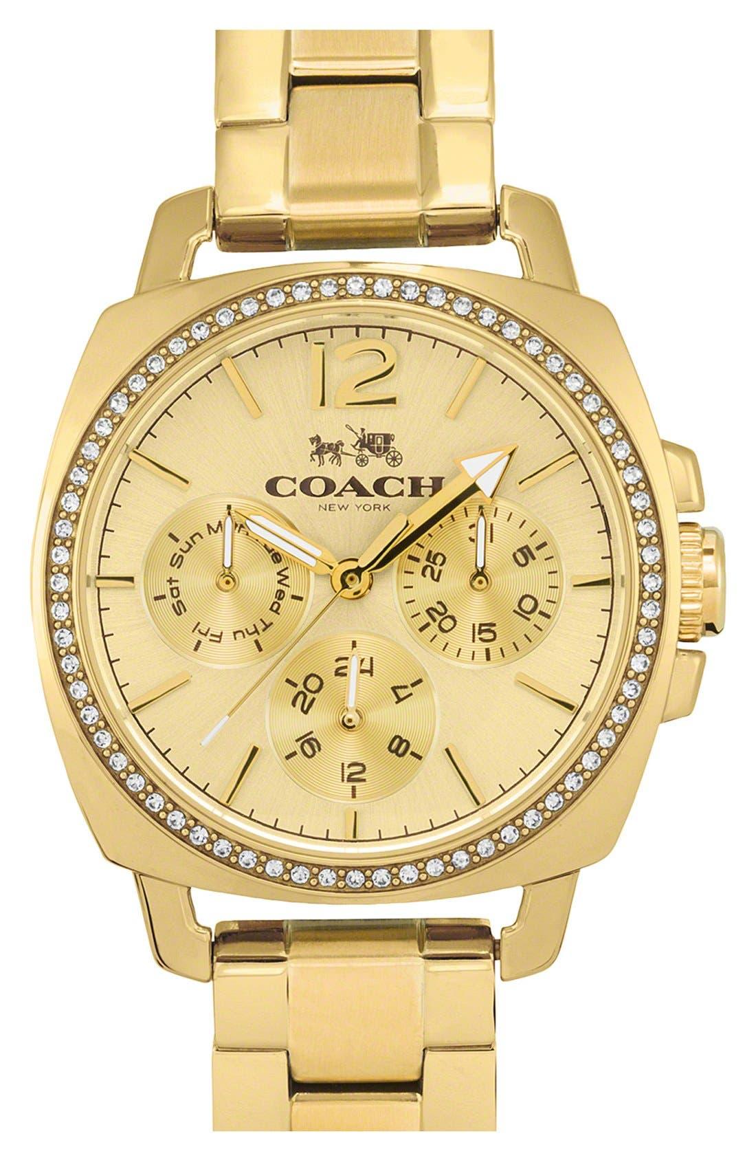 Coach Boyfriend Crystal Bezel Bracelet Watch 34mm