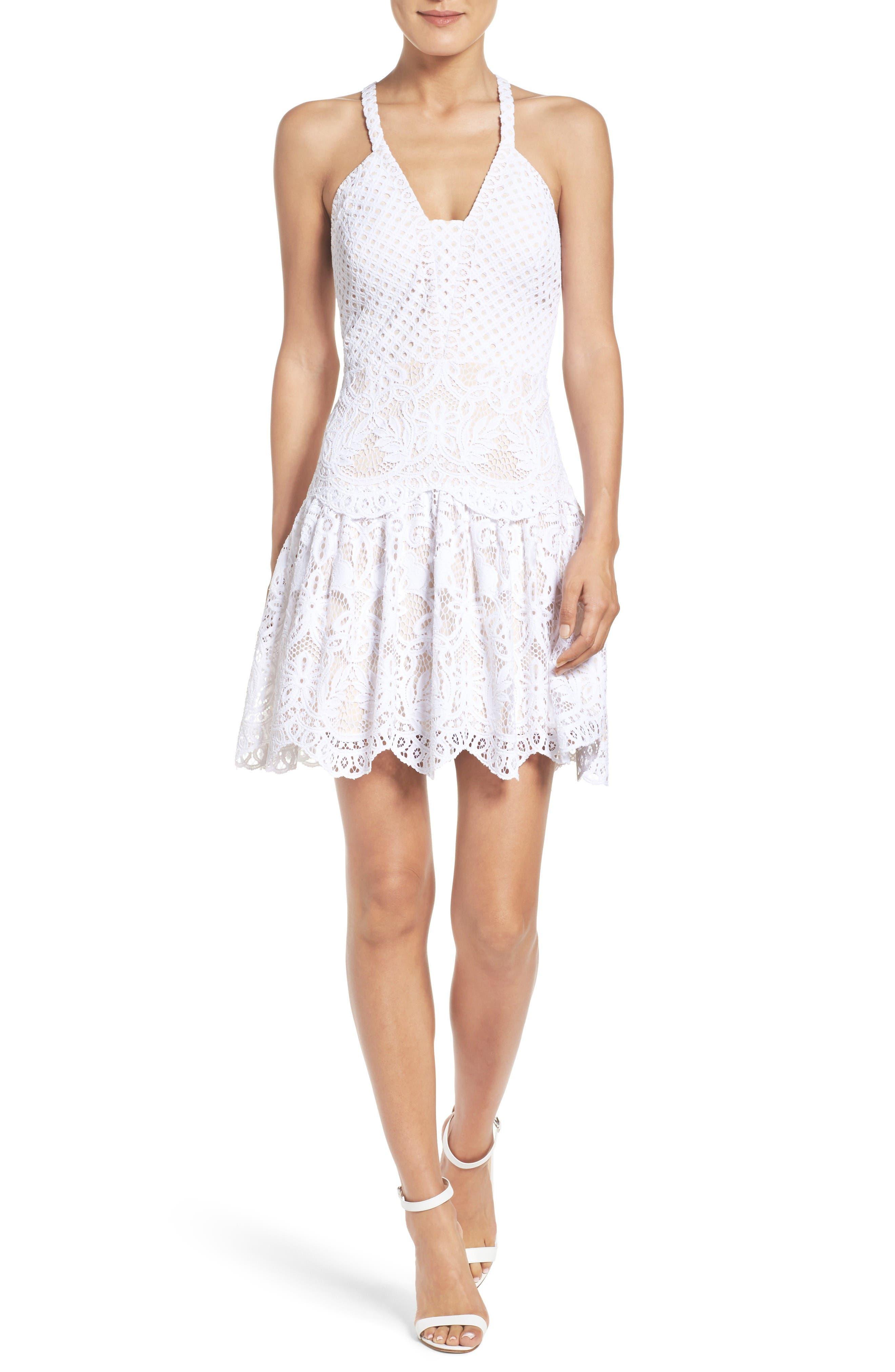 Adella Lace Dress,                             Alternate thumbnail 4, color,                             Resort White