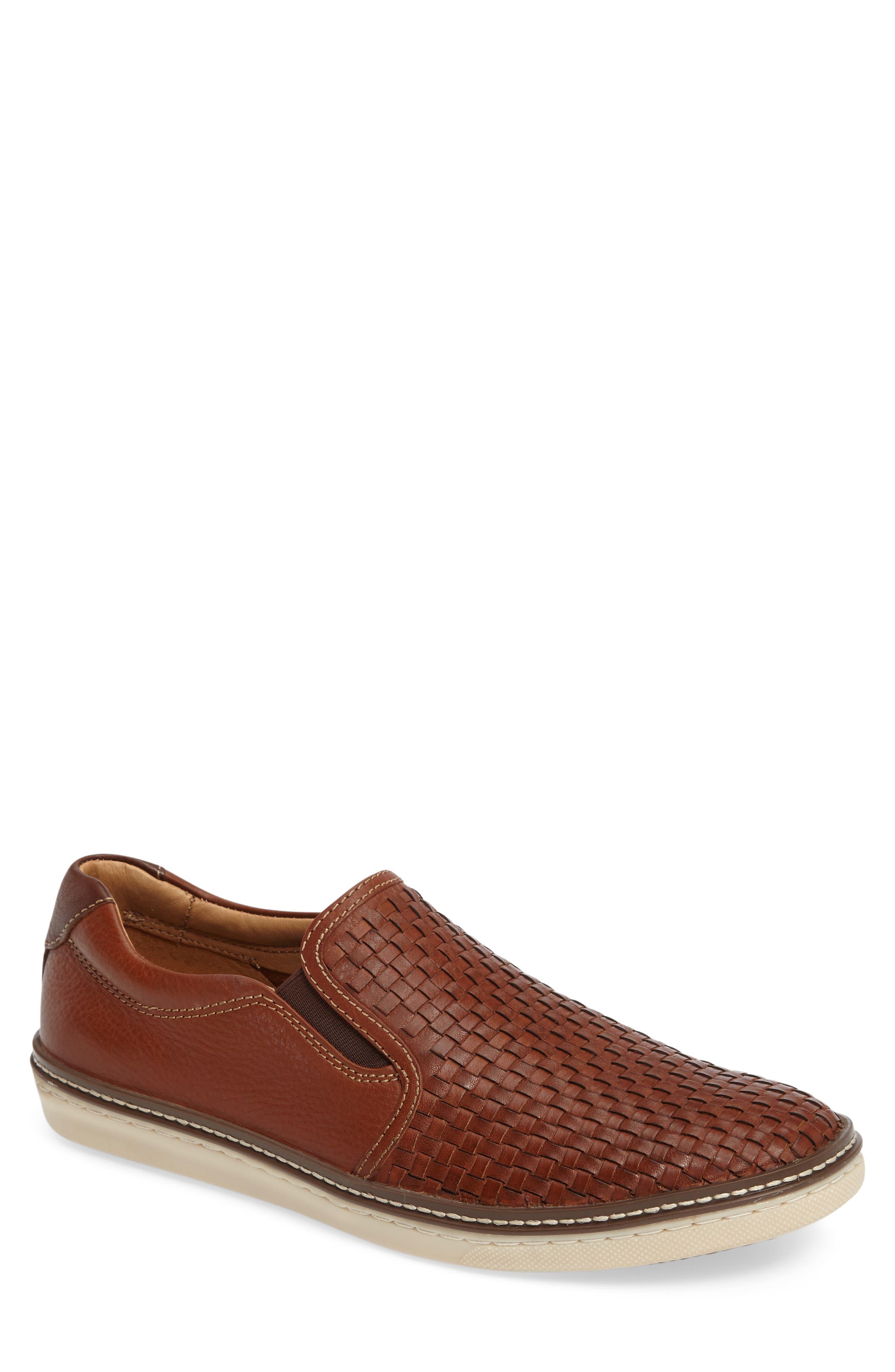 McGuffey Woven Slip-On Sneaker,                         Main,                         color, Tan Leather