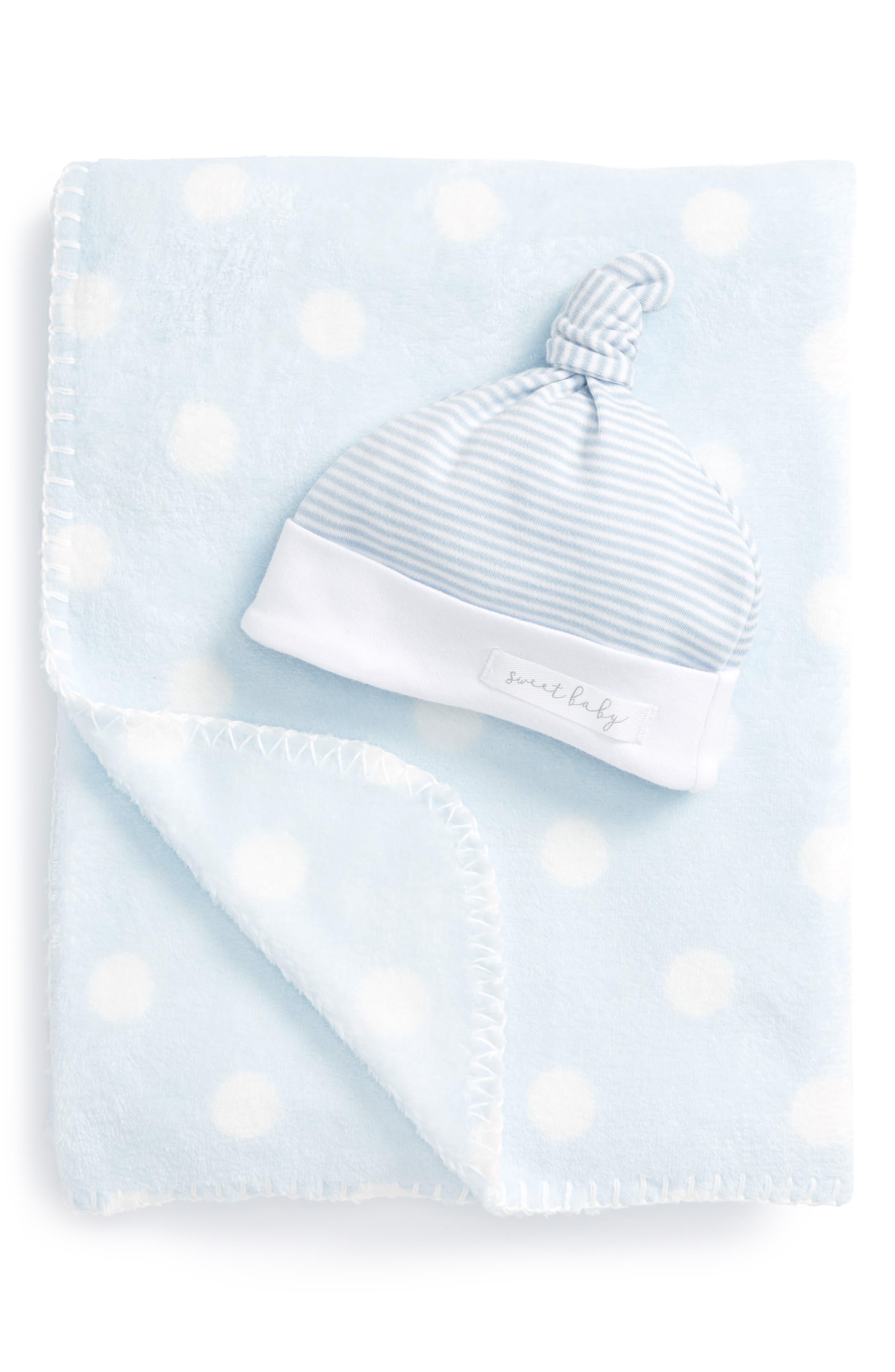 Sweet Baby Receiving Blanket & Hat Set,                         Main,                         color, Blue