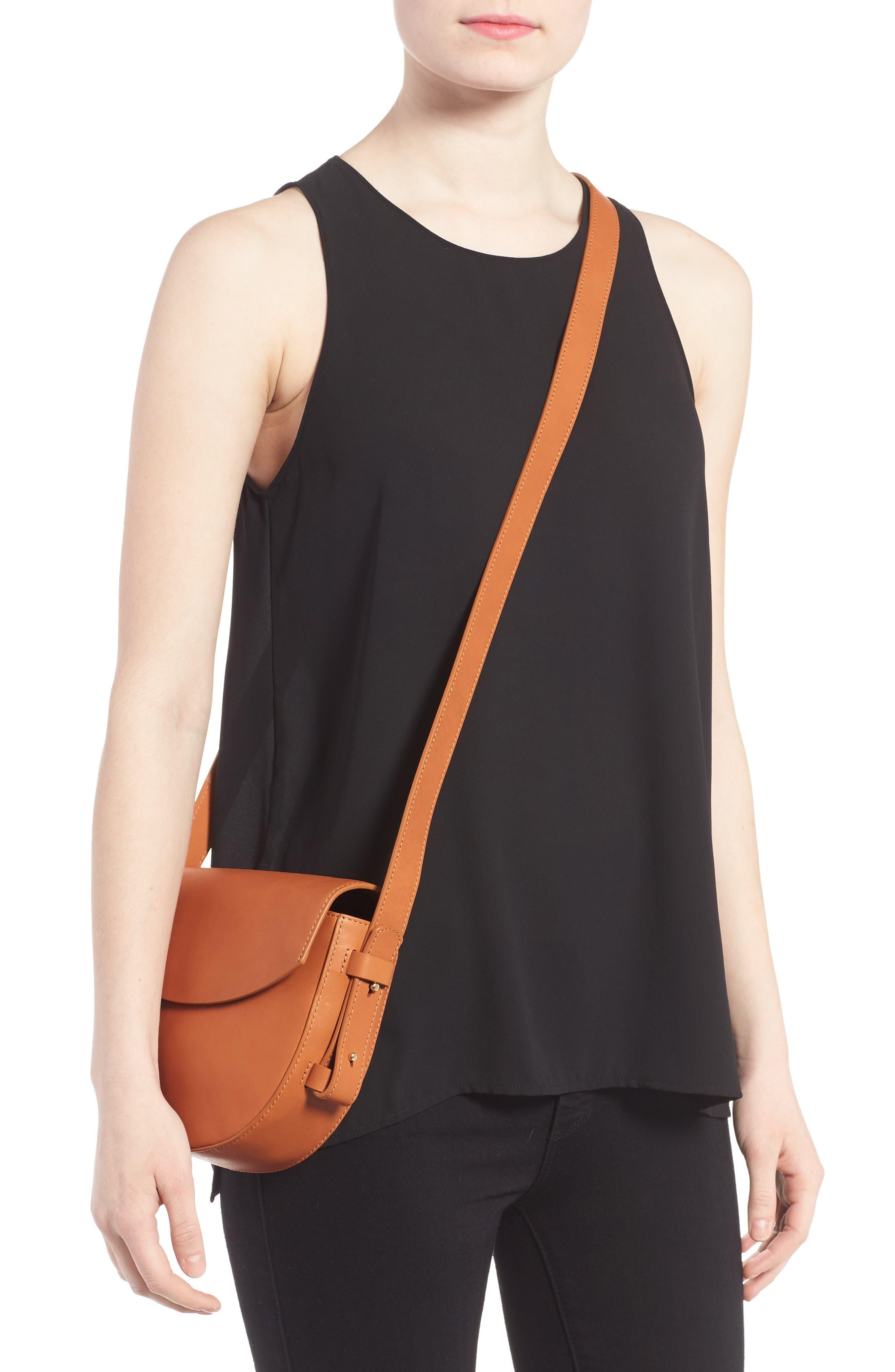 Lobelle Leather Saddle Bag,                             Alternate thumbnail 2, color,                             Tan