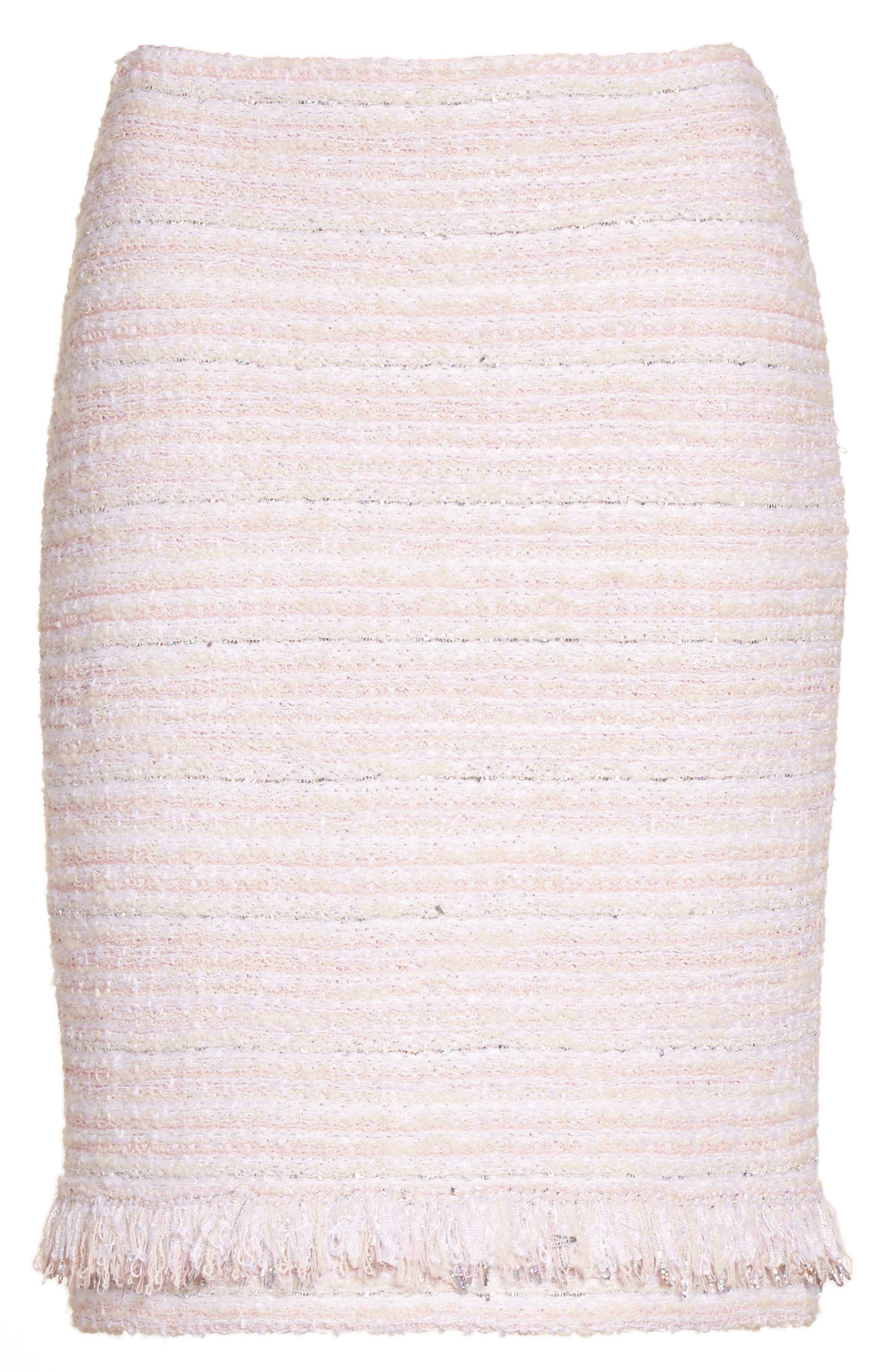 Padmesh Tweed Knit Skirt,                             Alternate thumbnail 6, color,                             Petal Multi