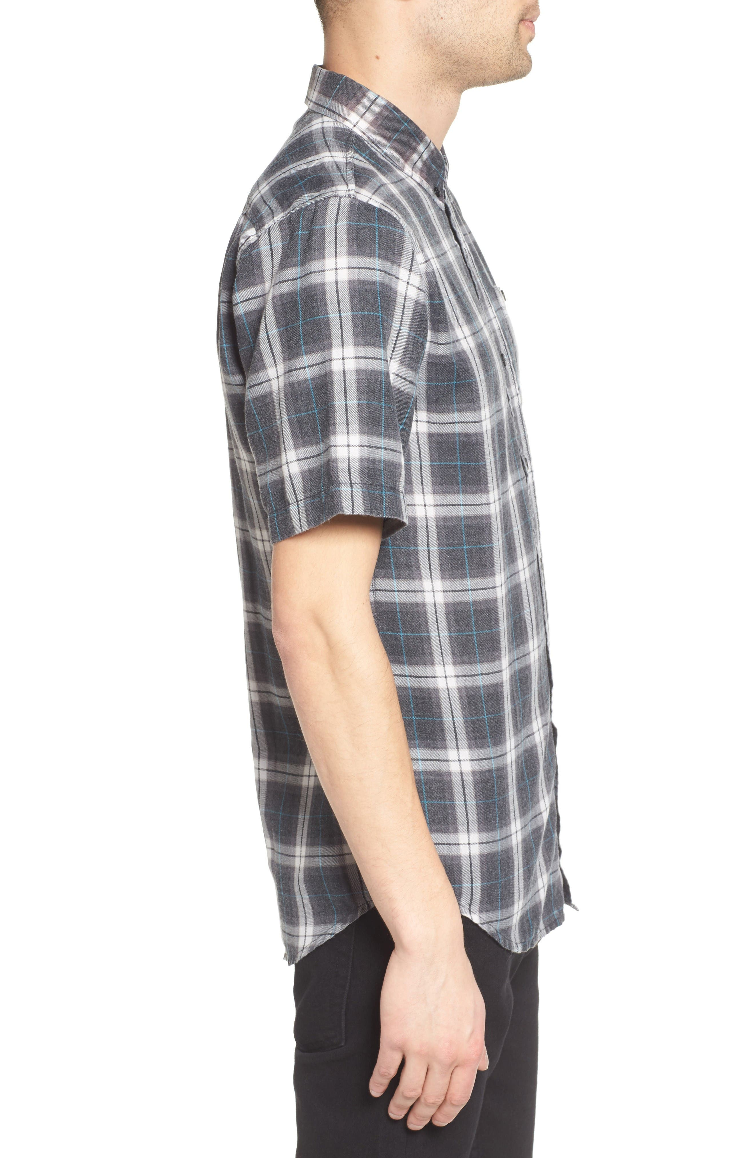 Plaid Shirt,                             Alternate thumbnail 3, color,                             Black