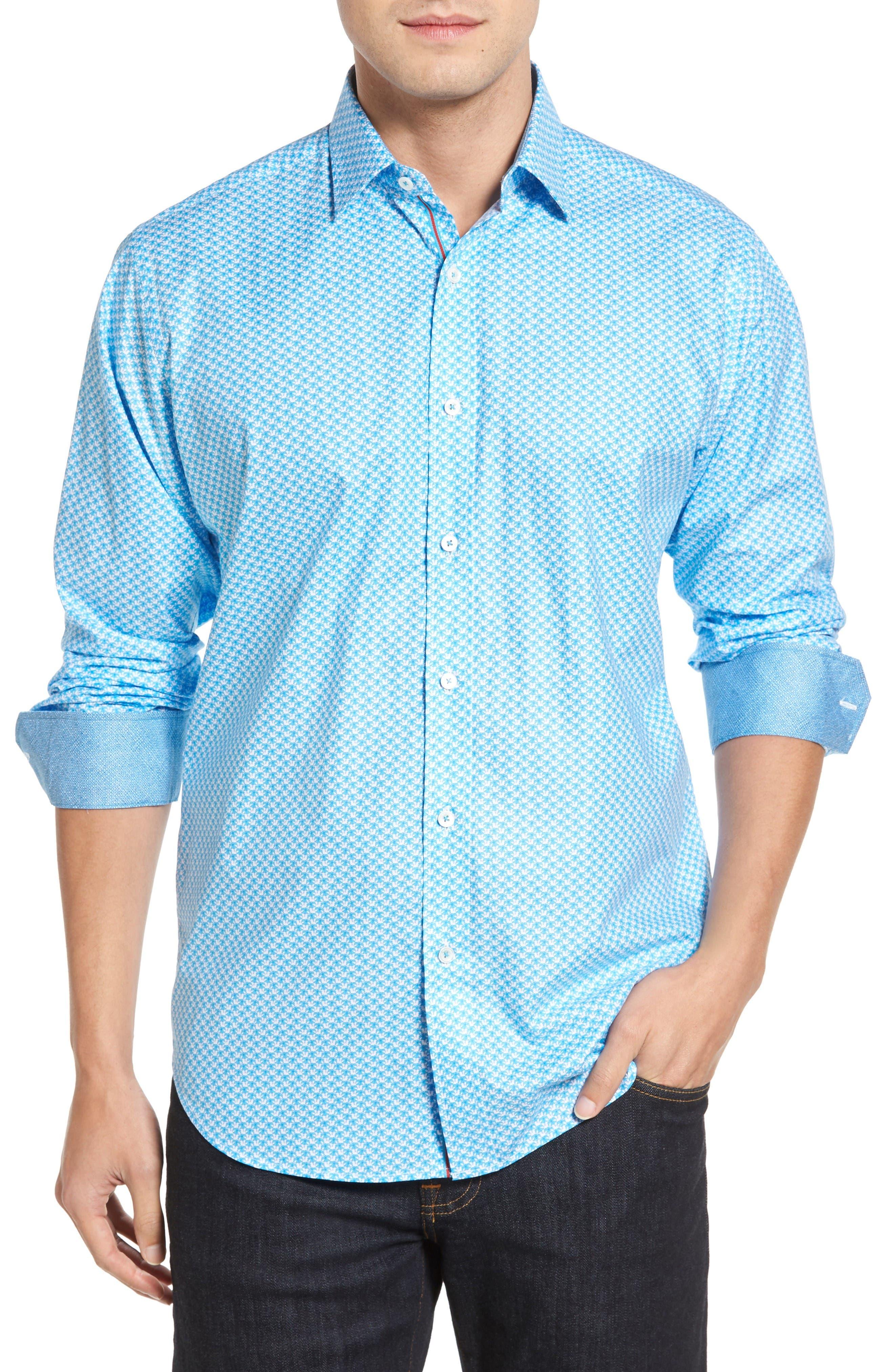 Classic Fit Umbrella Print Sport Shirt,                         Main,                         color, Turquoise