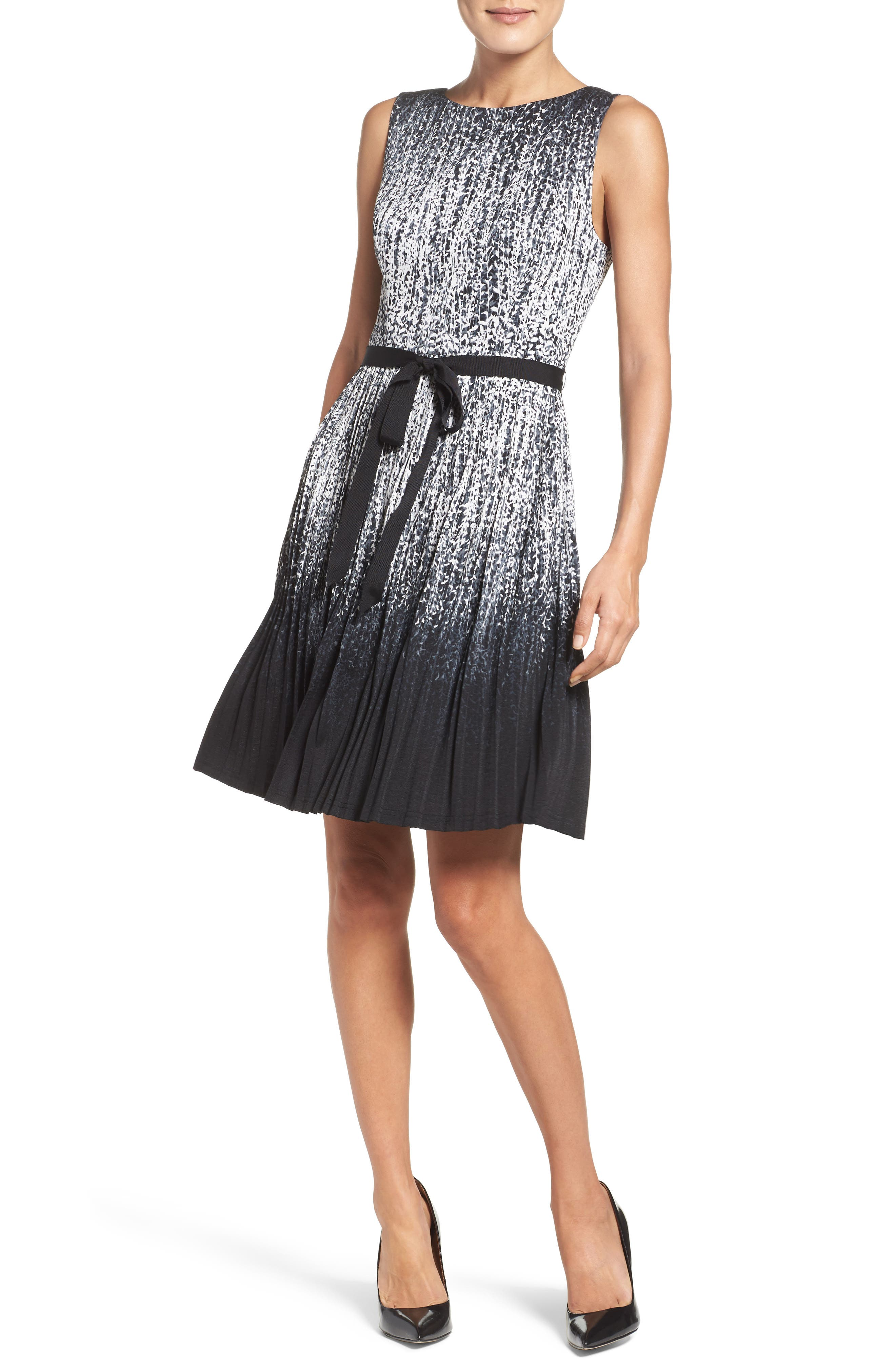 Pleat Fit & Flare Dress,                             Alternate thumbnail 4, color,                             Black/ Ivory