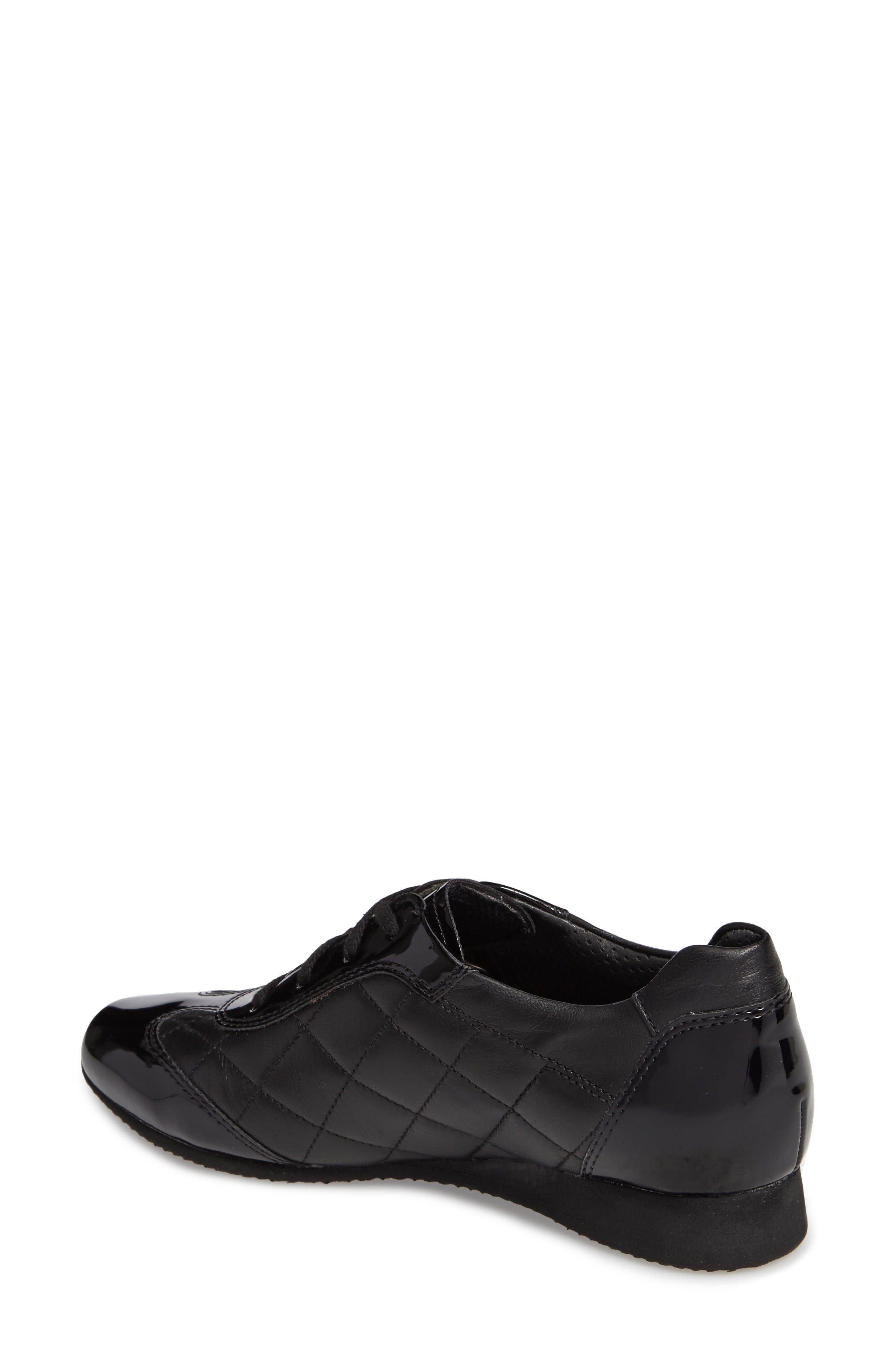 Ilana Sneaker,                             Alternate thumbnail 2, color,                             Black Quilted Leather