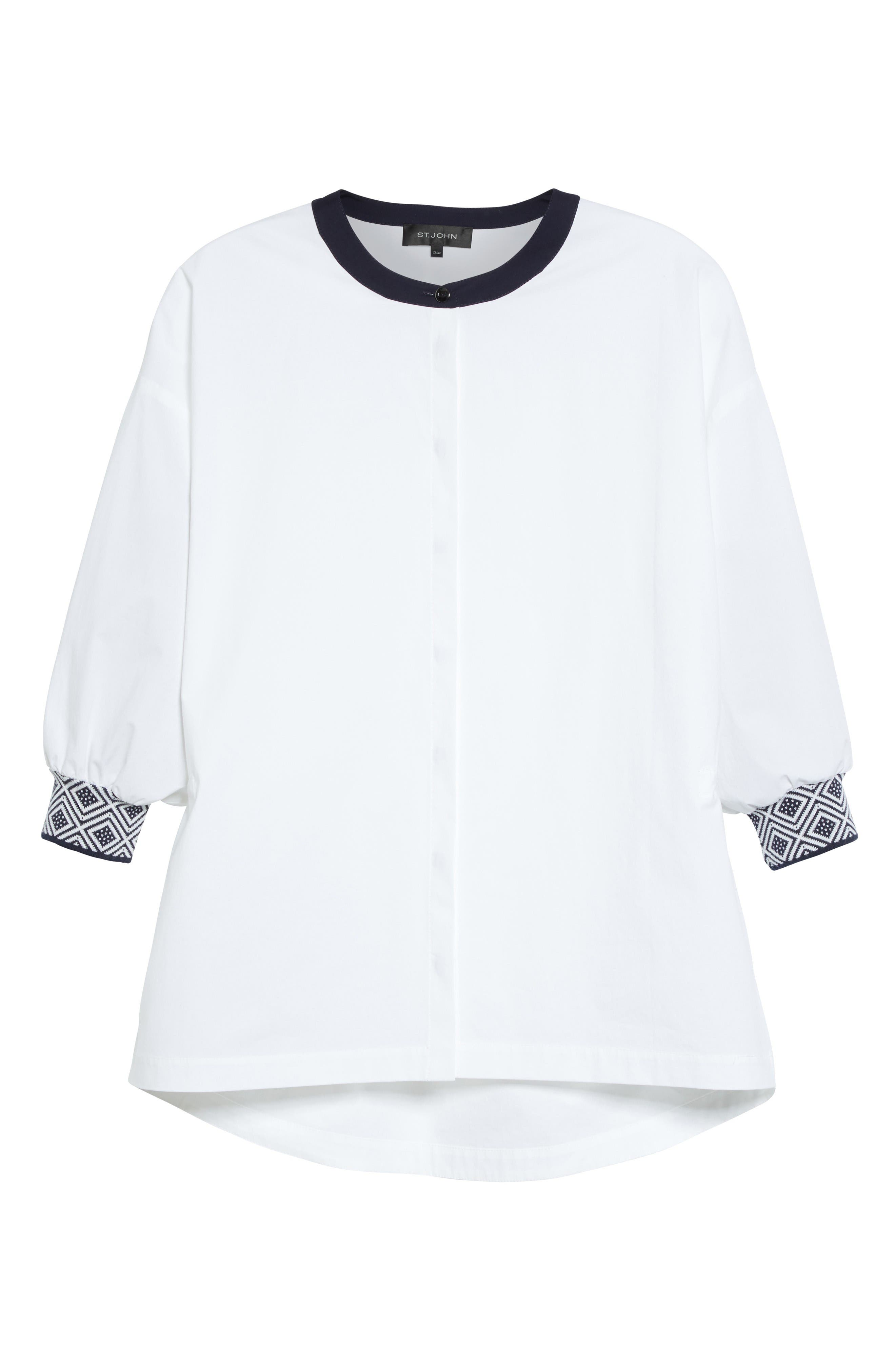 Alternate Image 6  - St. John Collection Devika Tile Techno Stretch Cotton Shirt