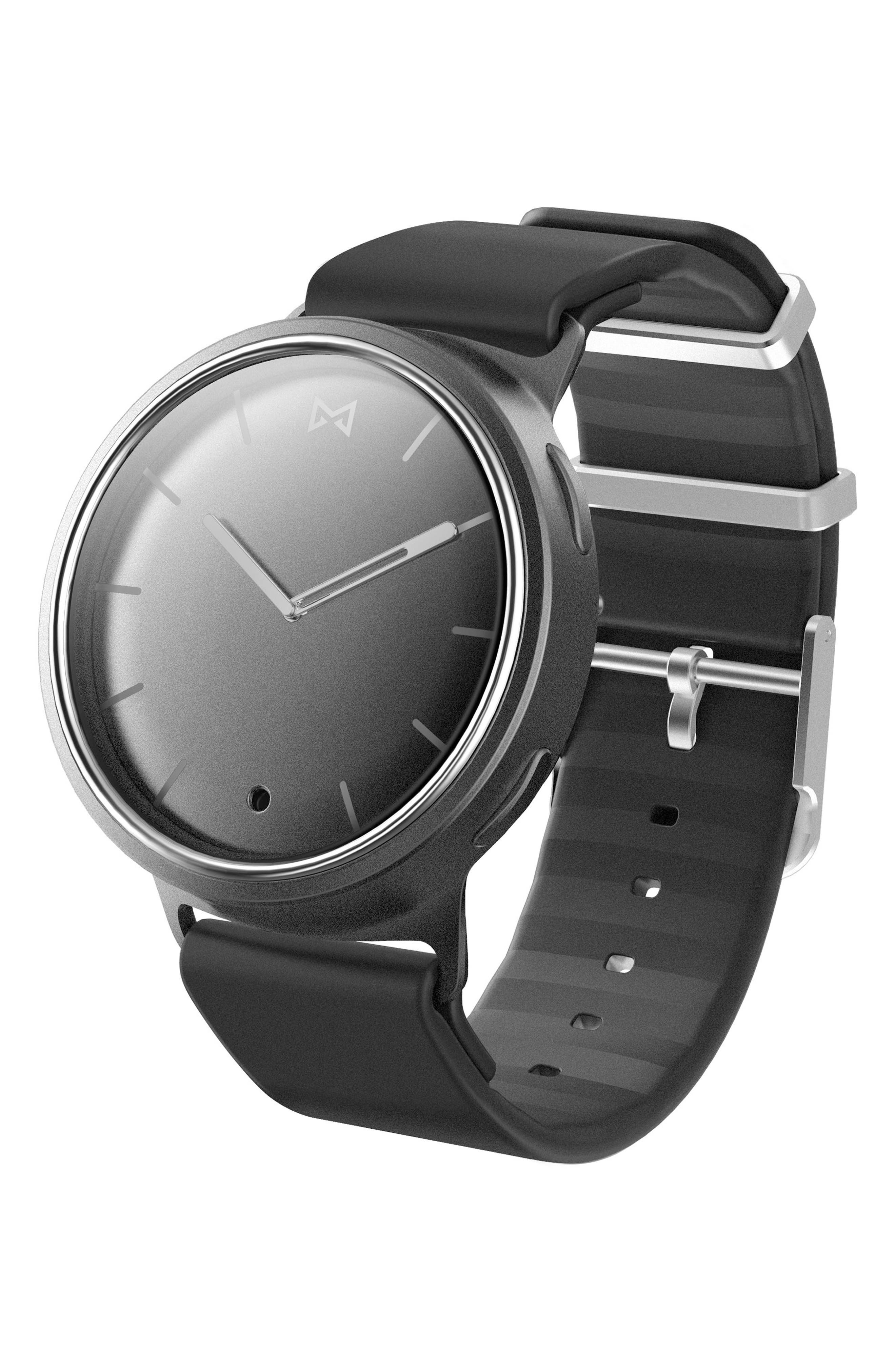 Phase Silicone Strap Smart Watch, 40mm,                         Main,                         color, Black/ Silver