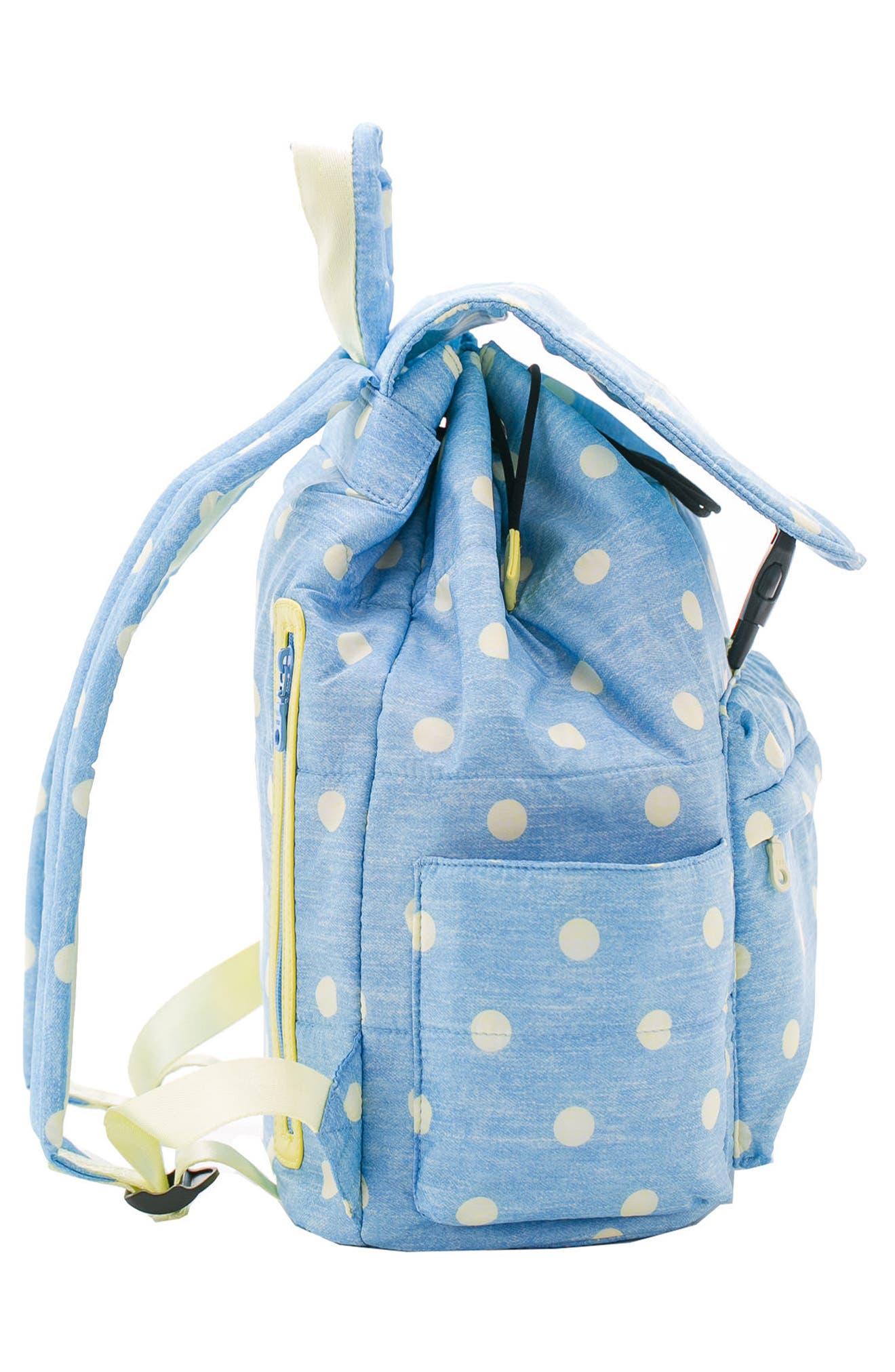 Print Water-Repellent Diaper Backpack,                             Alternate thumbnail 3, color,                             Denim Yellow Dot