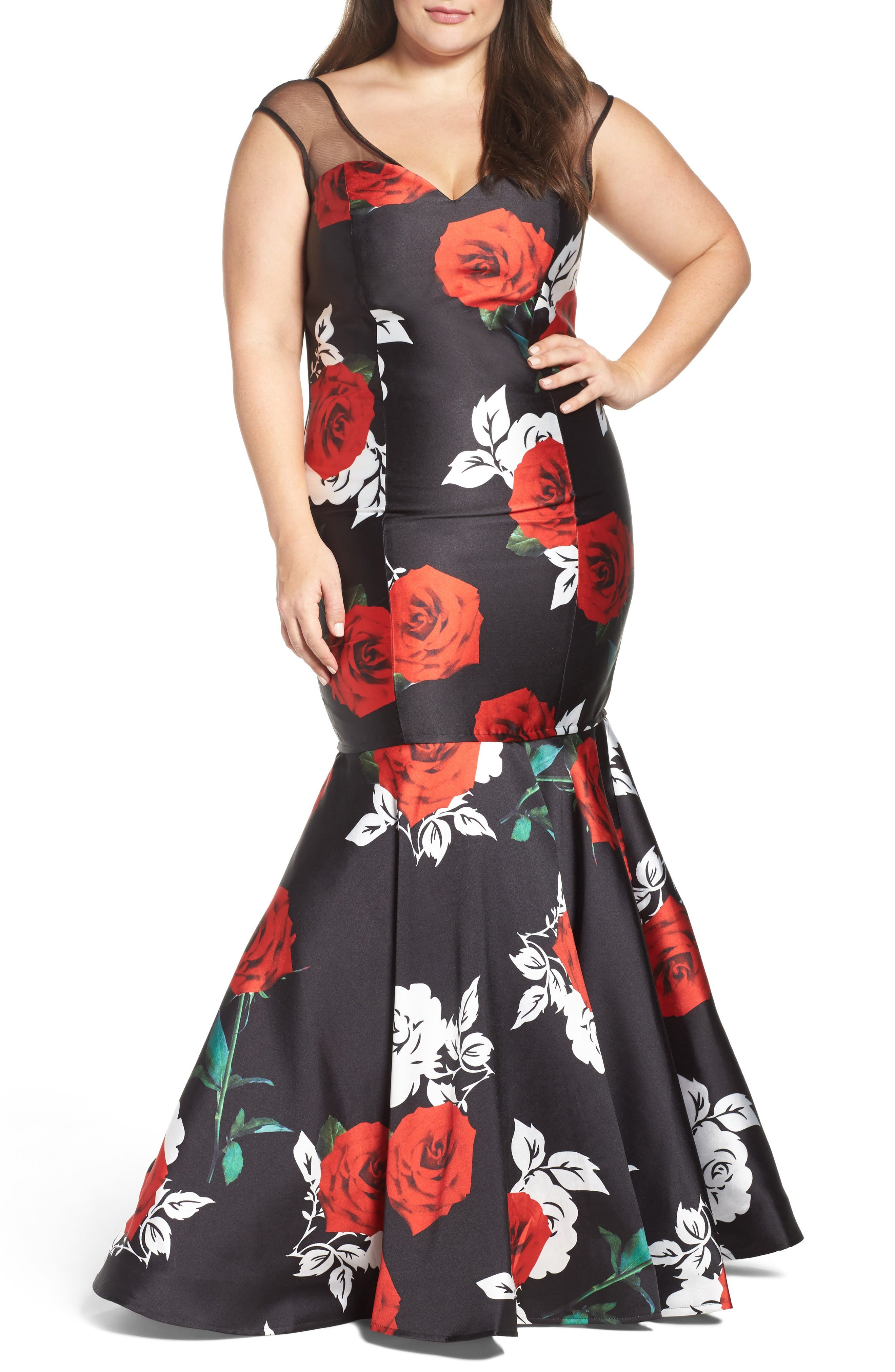 Main Image - Mac Duggal Rose Print Mermaid Gown (Plus Size)