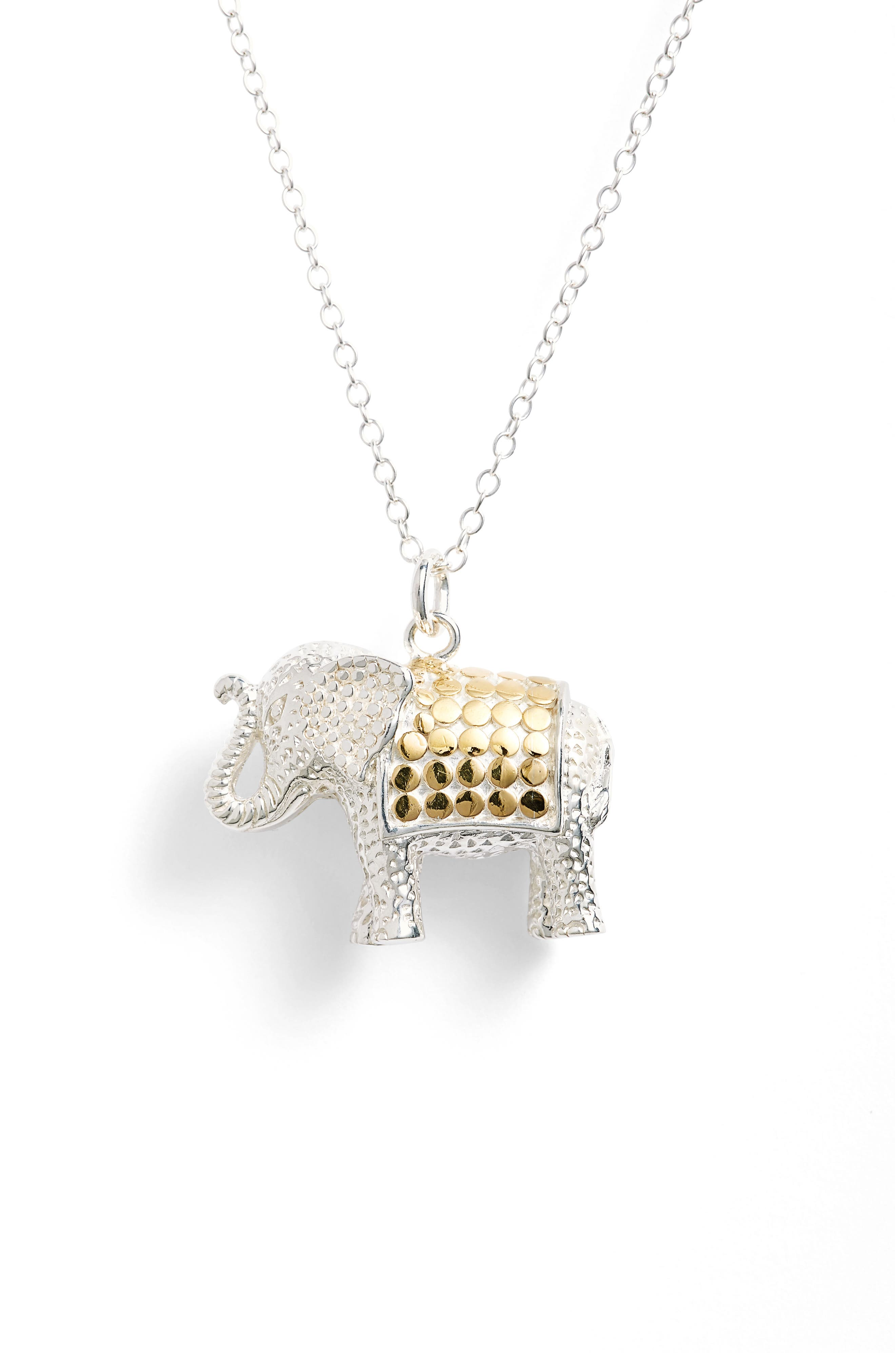 Jewelry That Makes a Difference Elephant Pendant Necklace,                         Main,                         color, Gold/ Silver
