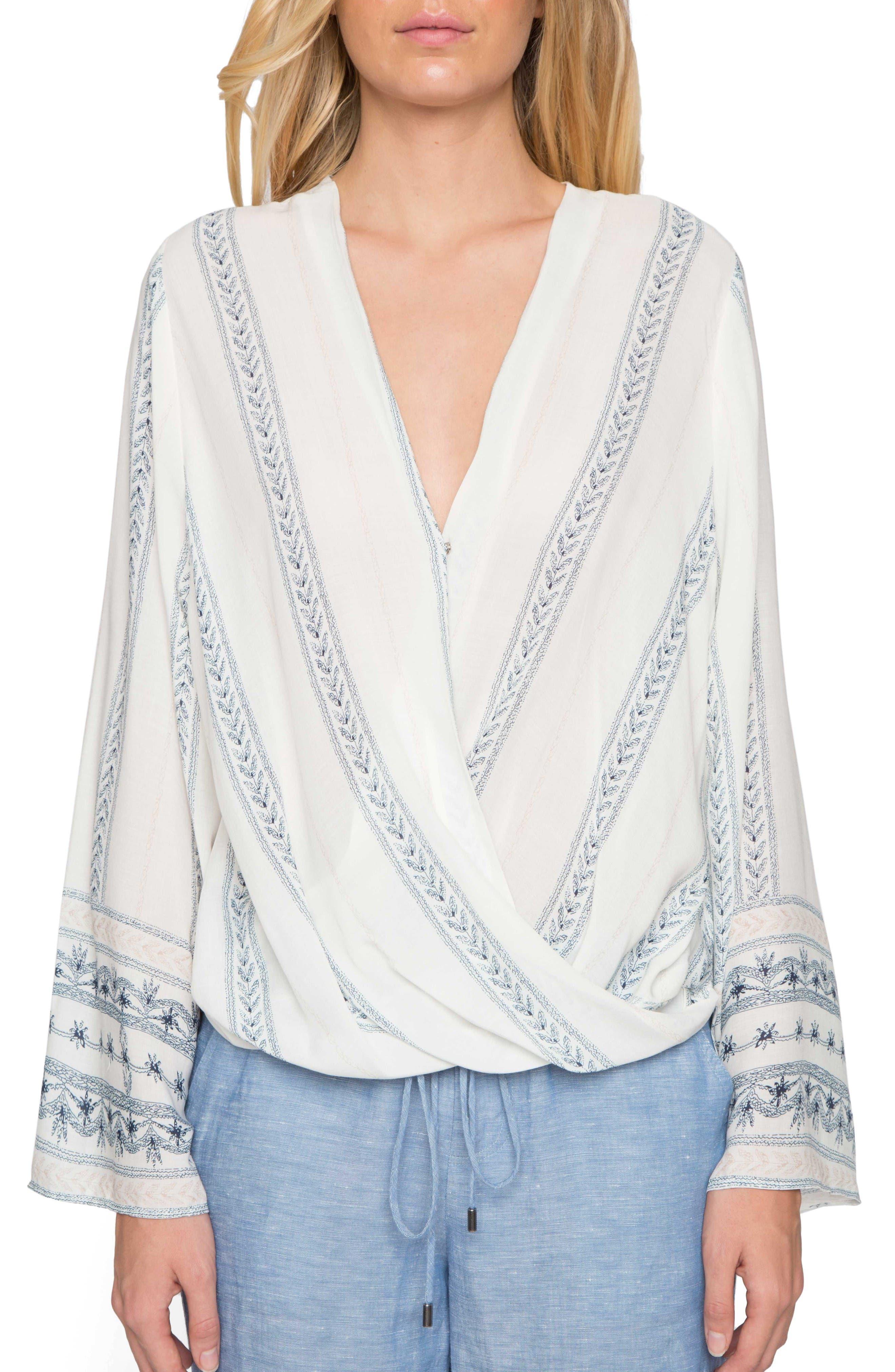 Wrap Front Blouse,                         Main,                         color, Ivory