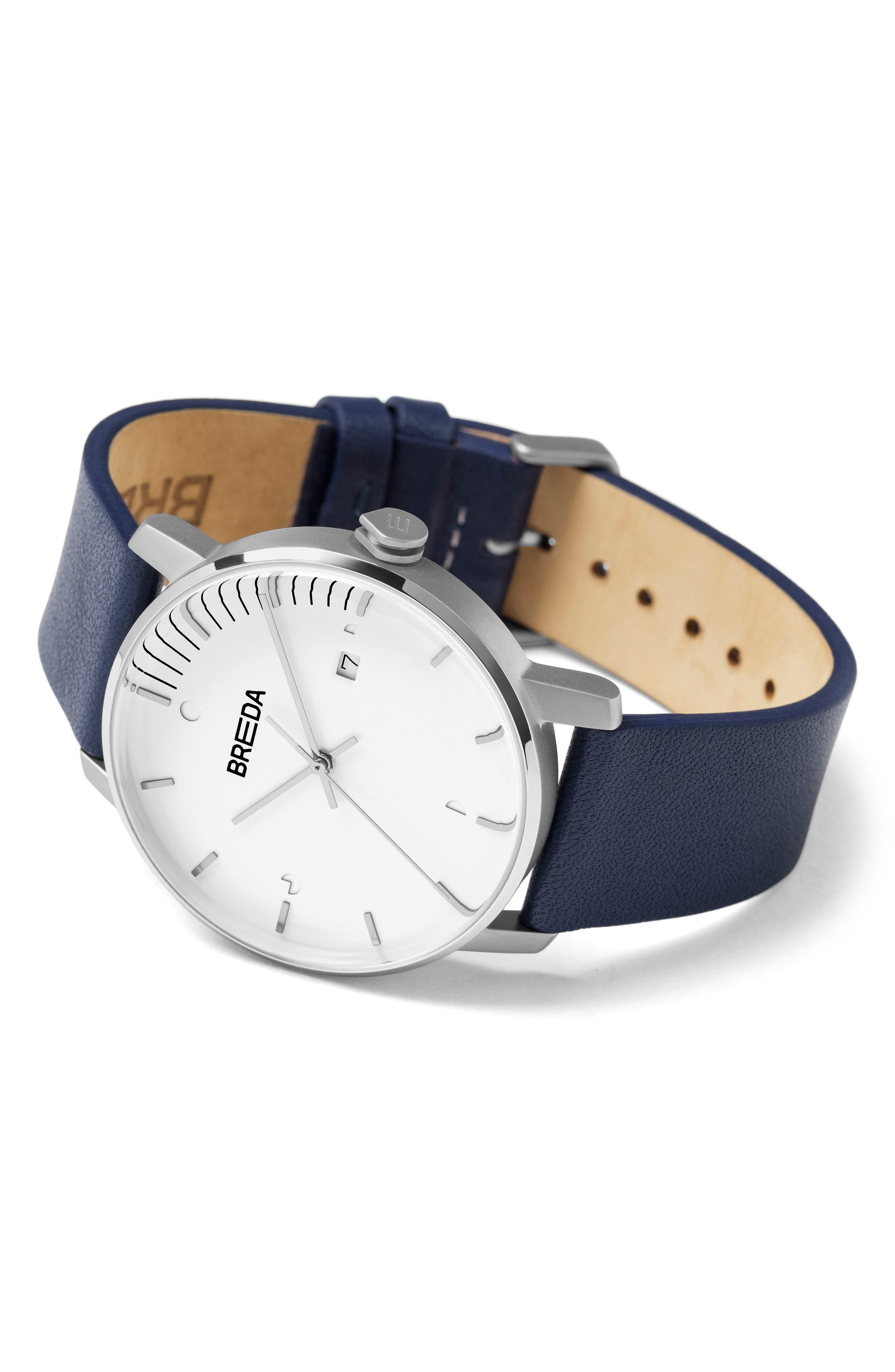 Alternate Image 2  - Breda Phase Leather Strap Watch, 39mm