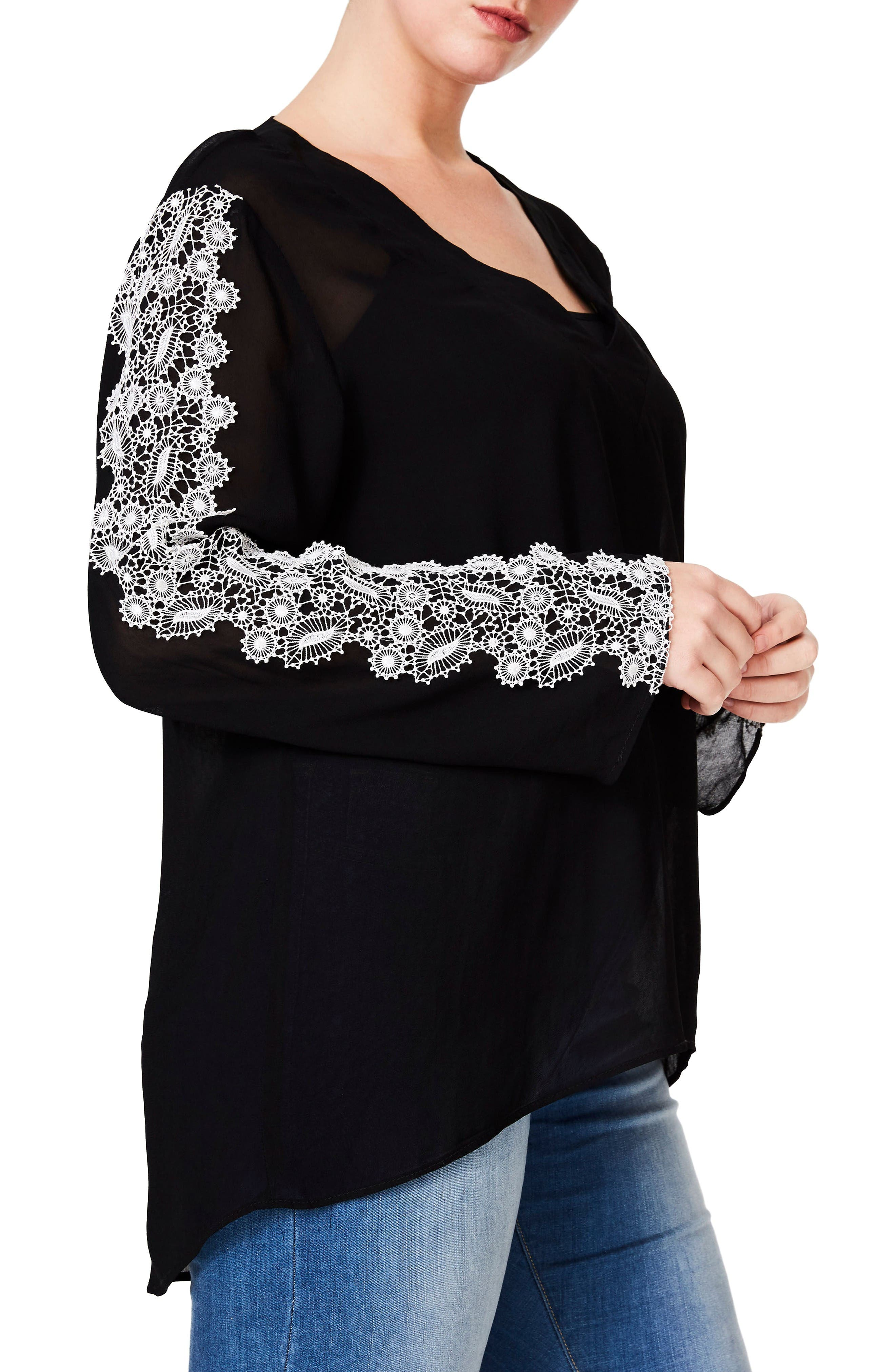 Embroidered Sleeve Blouse,                             Alternate thumbnail 4, color,                             Black