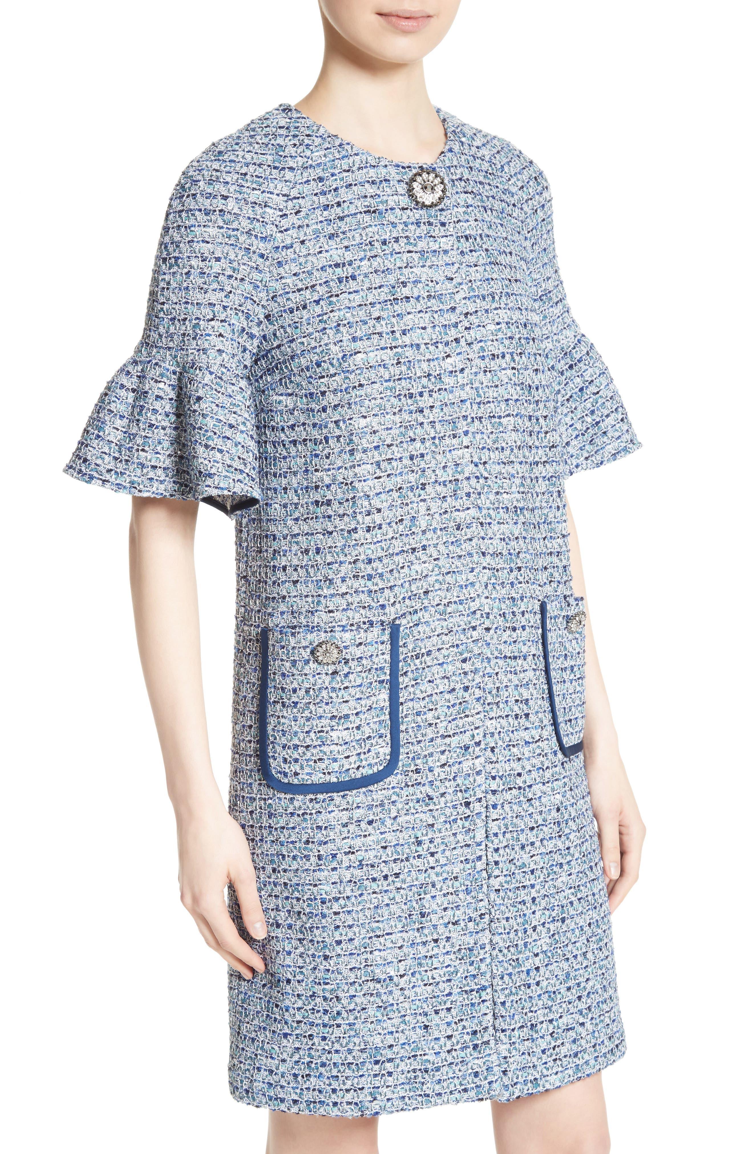 Kiara Tweed Bell Sleeve Jacket,                             Alternate thumbnail 4, color,                             Blue Multi
