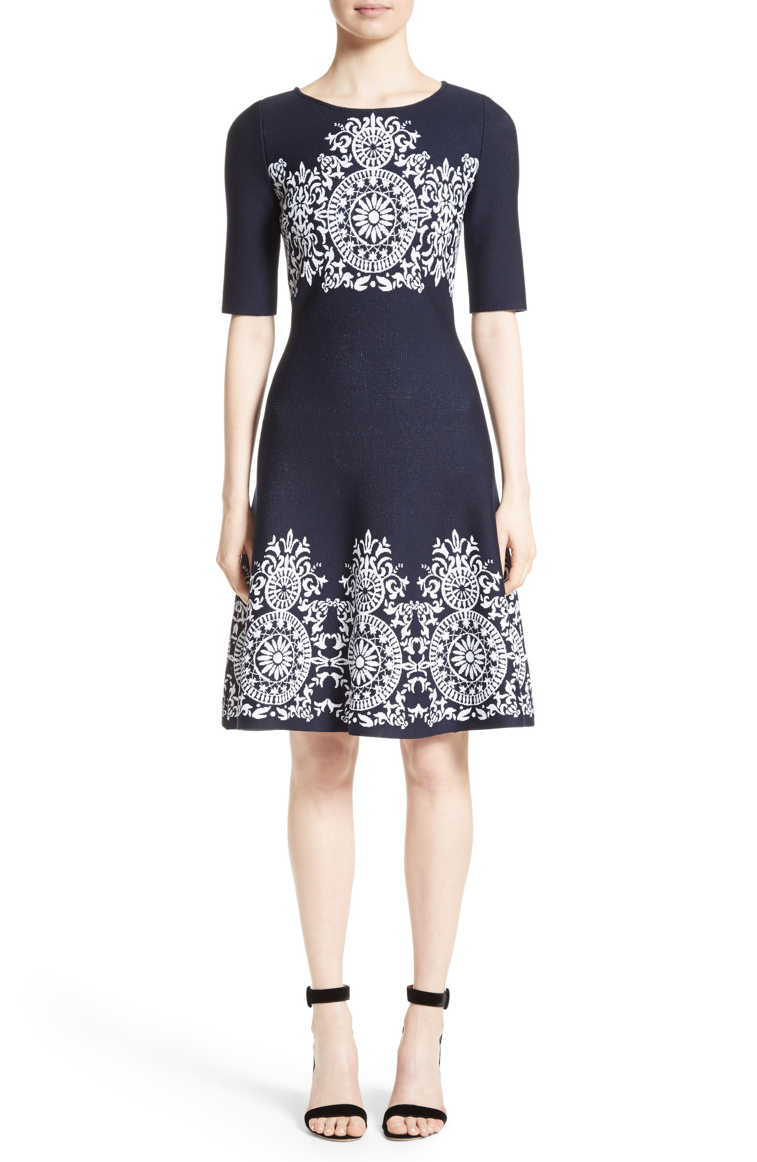 Nellore Jacquard Knit Fit & Flare Dress,                         Main,                         color, Navy/ Bianco