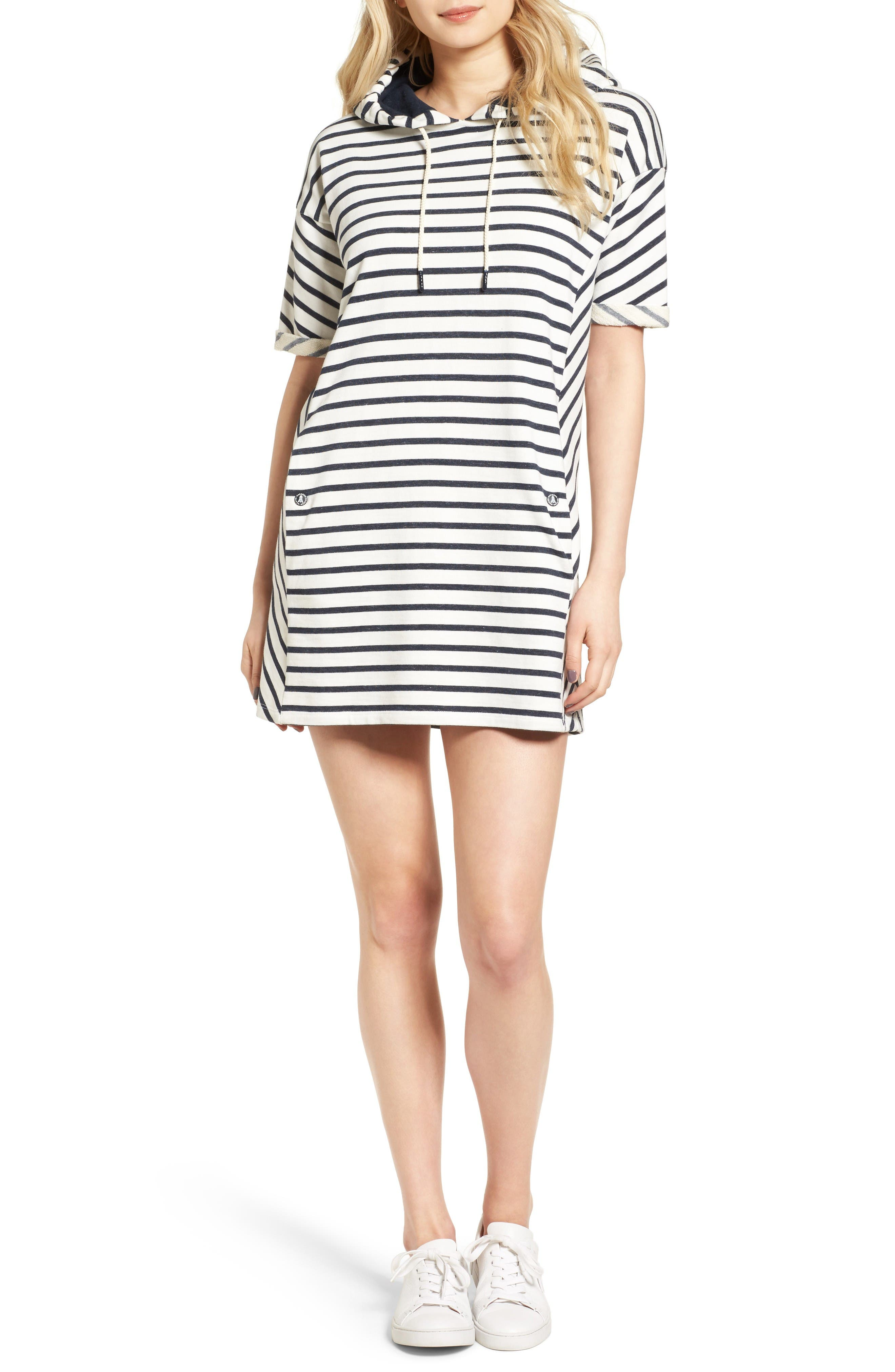 Dive Stripe Terry Hooded Dress,                             Main thumbnail 1, color,                             Navy Cloud