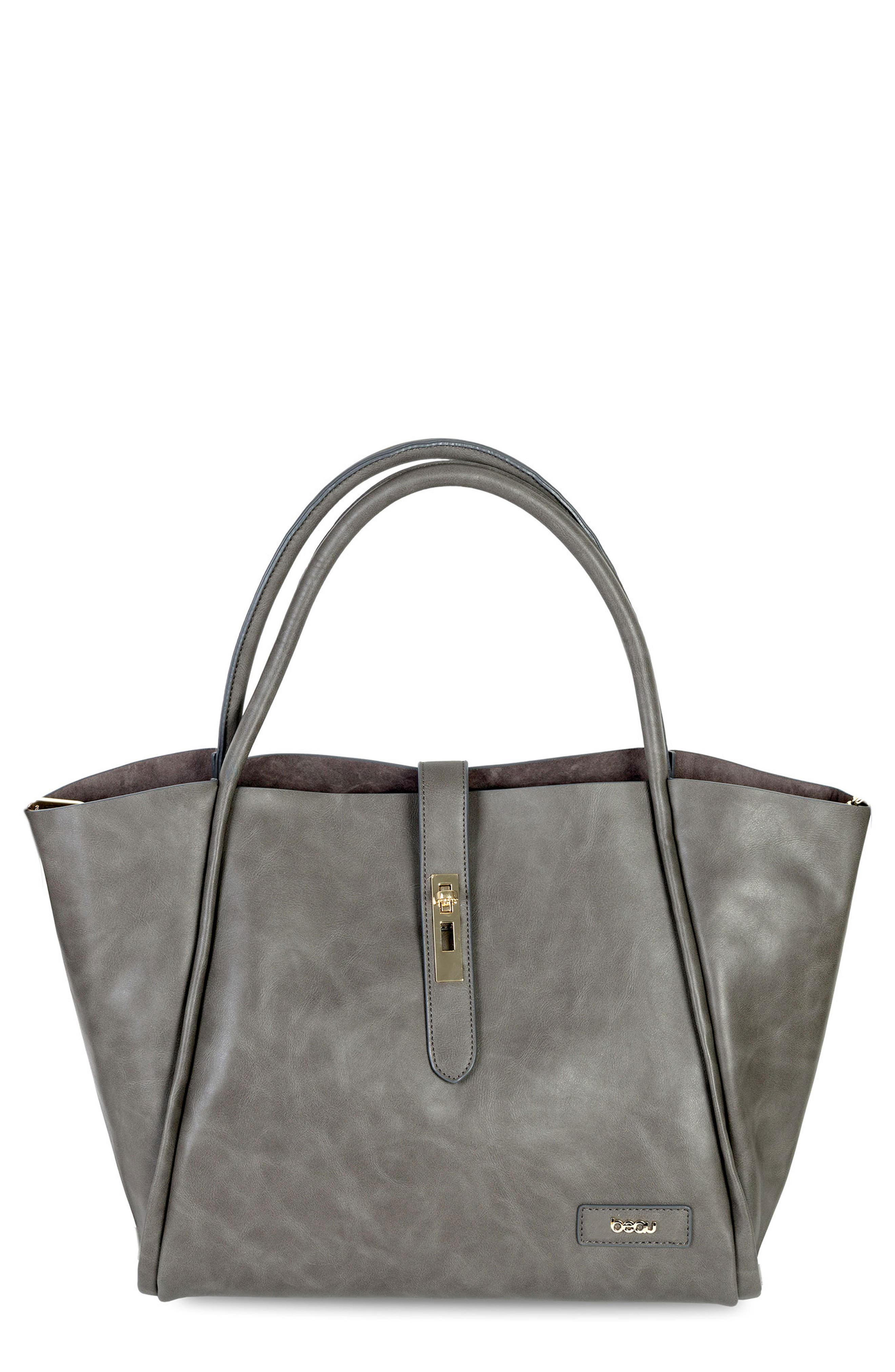Caris Faux Leather Diaper Tote,                             Main thumbnail 1, color,                             Grey