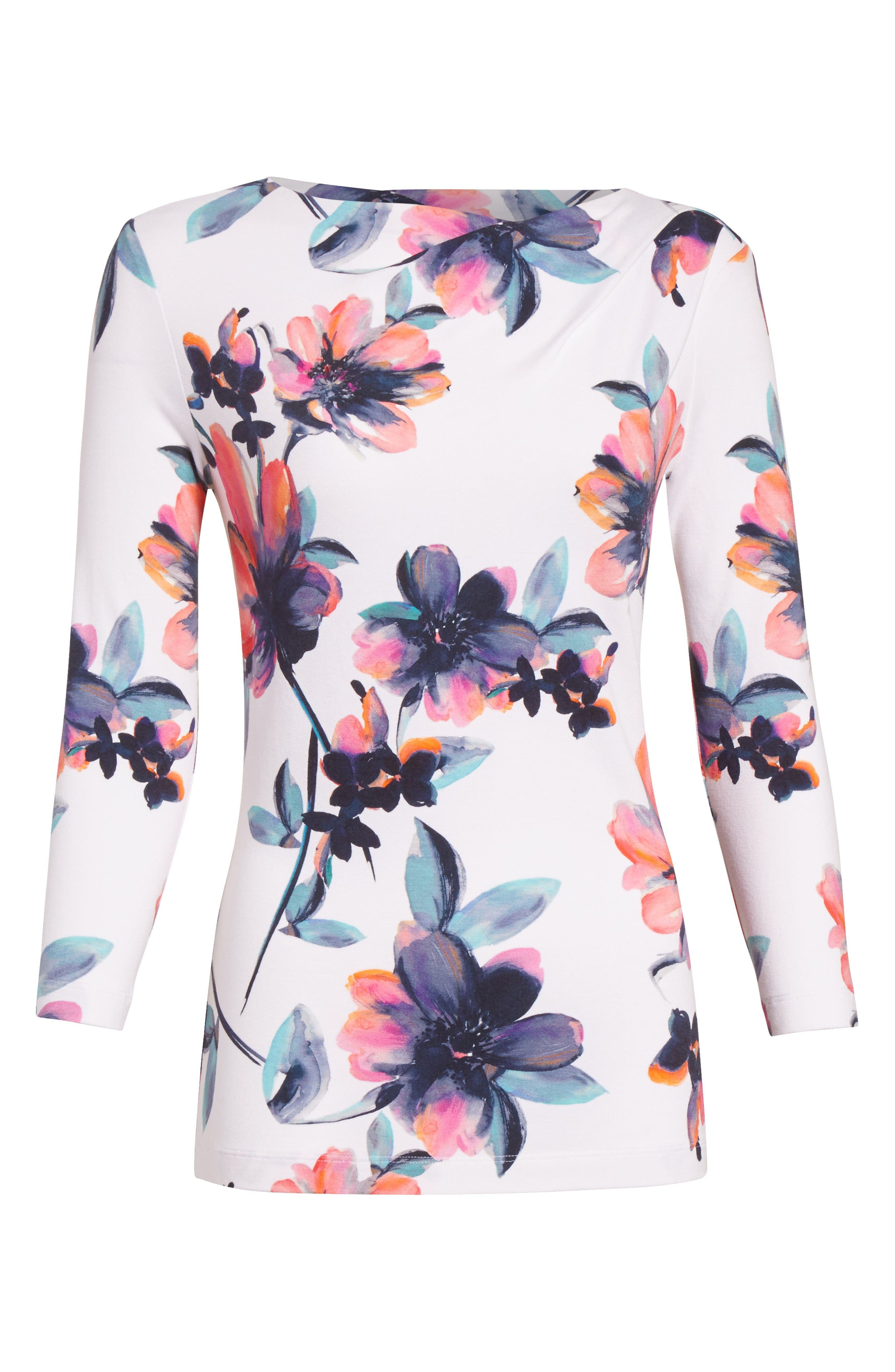 Alternate Image 6  - St. John Collection Naveena Floral Print Top