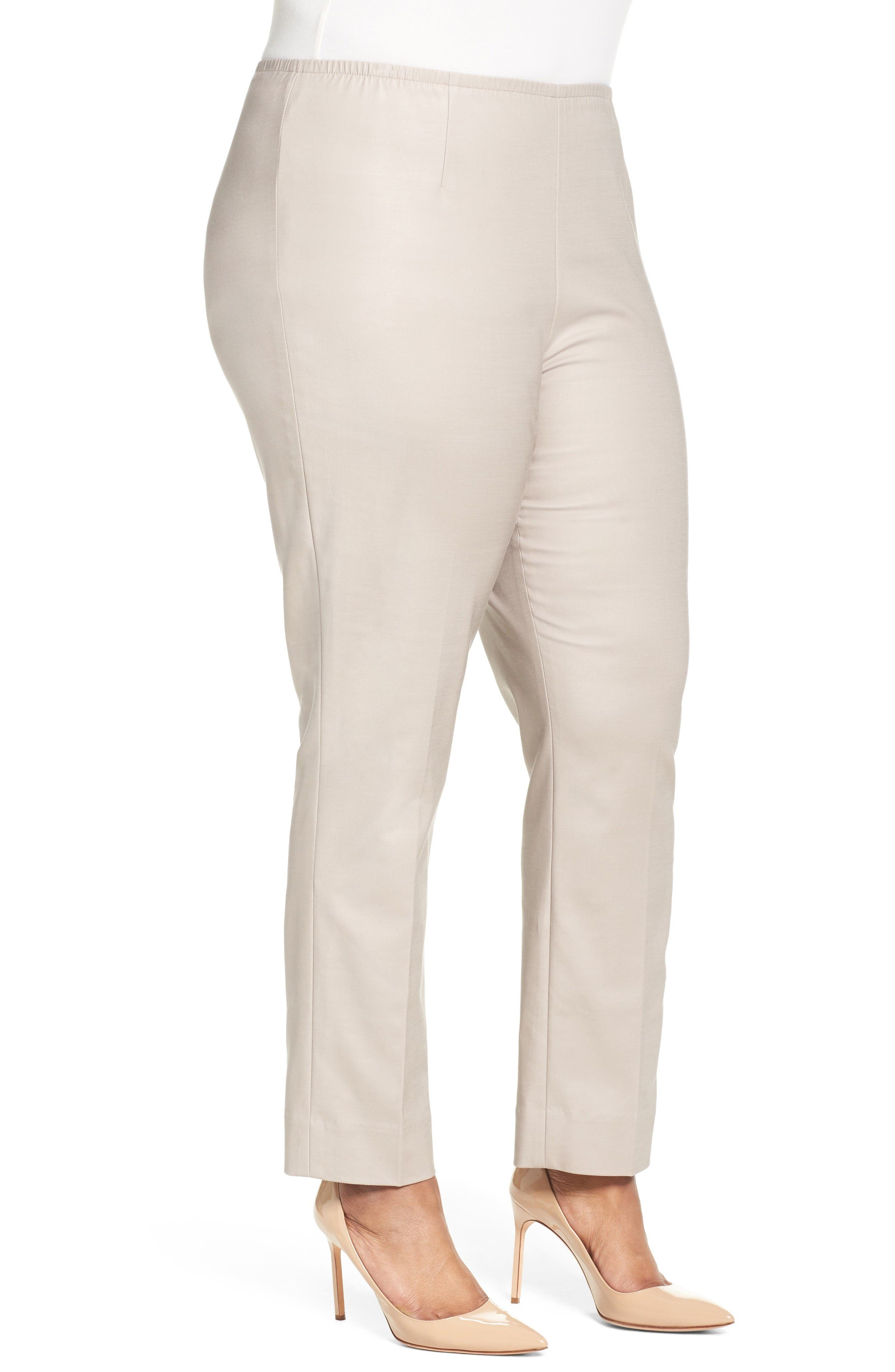 Perfect Side Zip Ankle Pants,                             Alternate thumbnail 3, color,                             French Linen