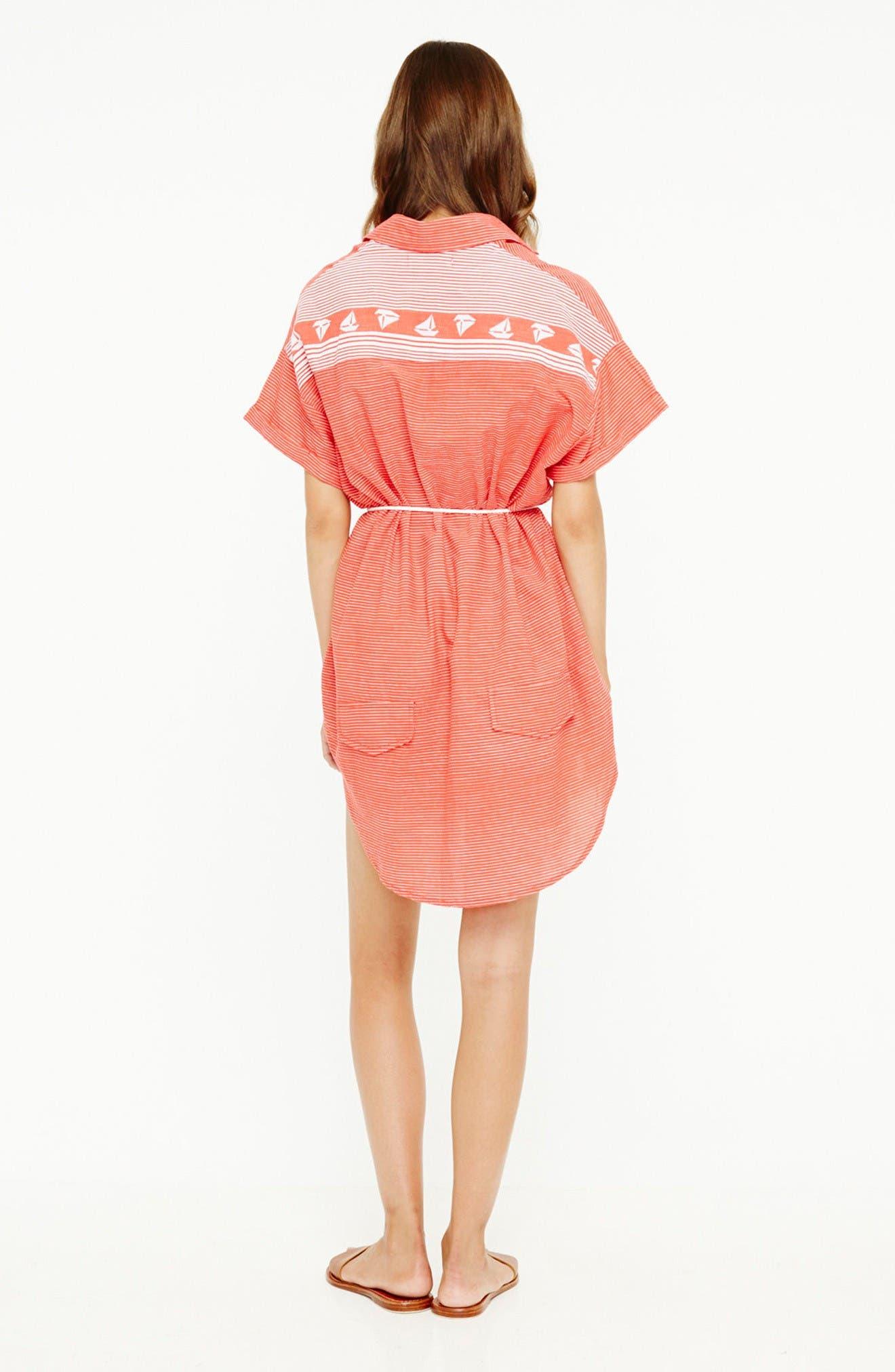 Avalon Cotton Shirtdress,                             Alternate thumbnail 7, color,                             Deep Sea Print Red