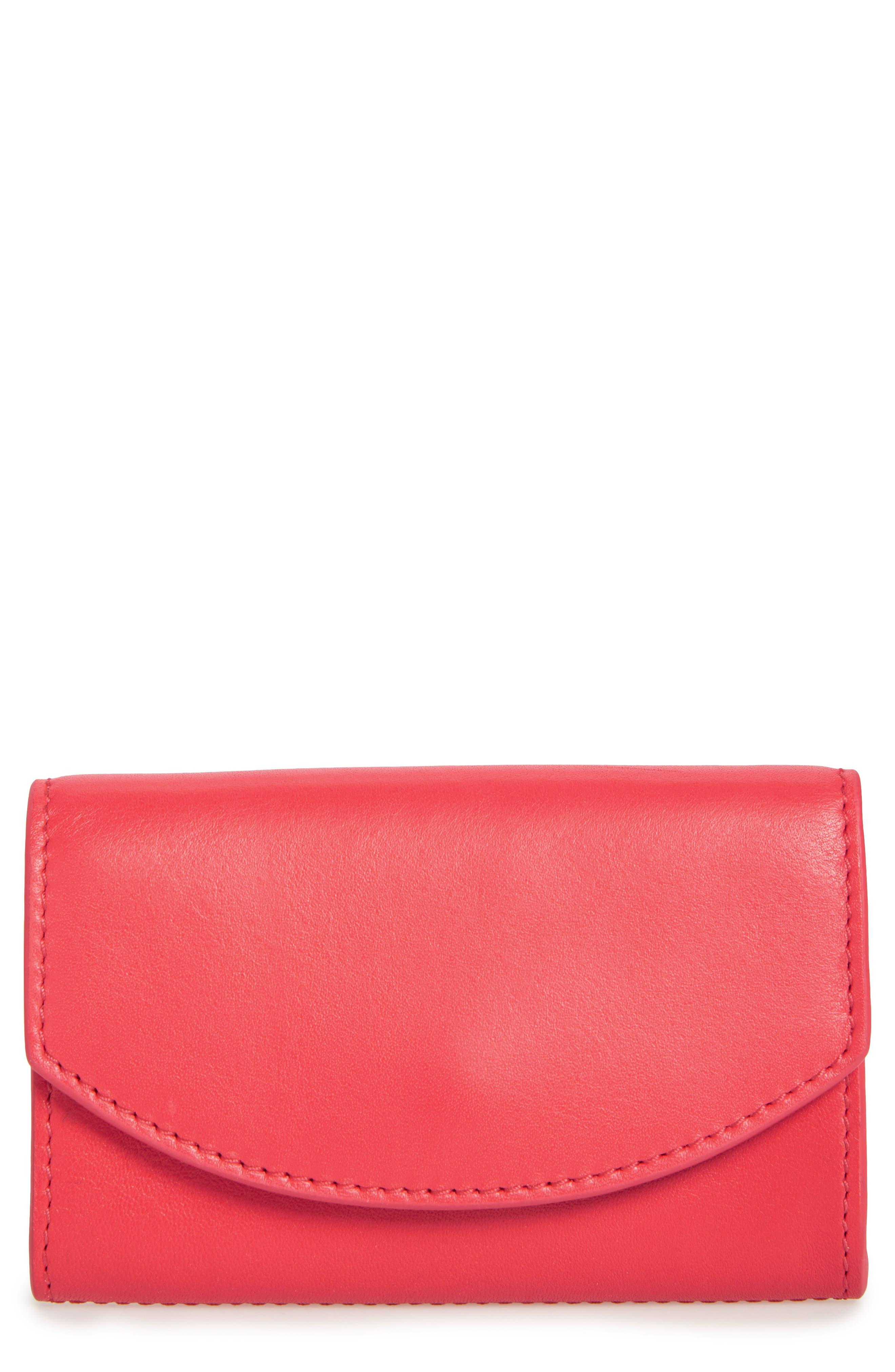 Leather Card Case,                             Main thumbnail 1, color,                             Lotus