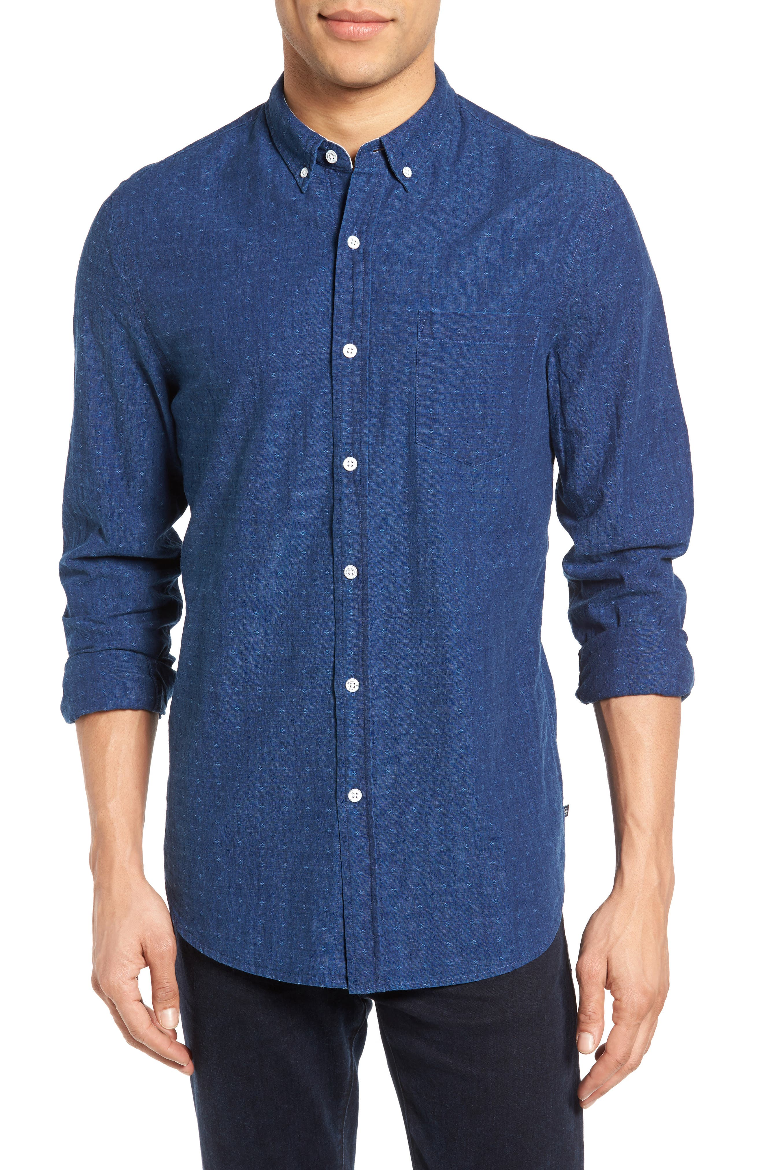 Grady Trim Fit Jacquard Sport Shirt,                         Main,                         color, Washed Indigo