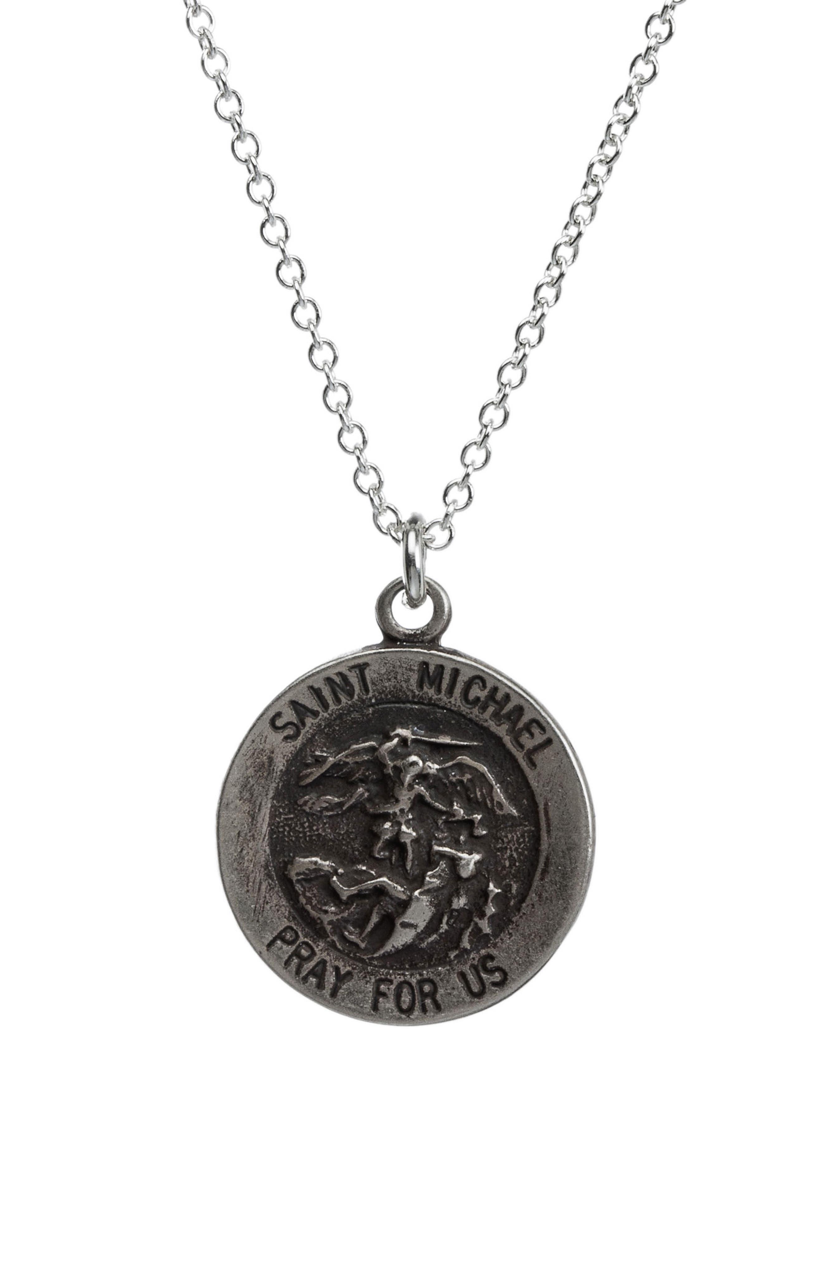 Saint Michael Pendant Necklace,                             Main thumbnail 1, color,                             Silver