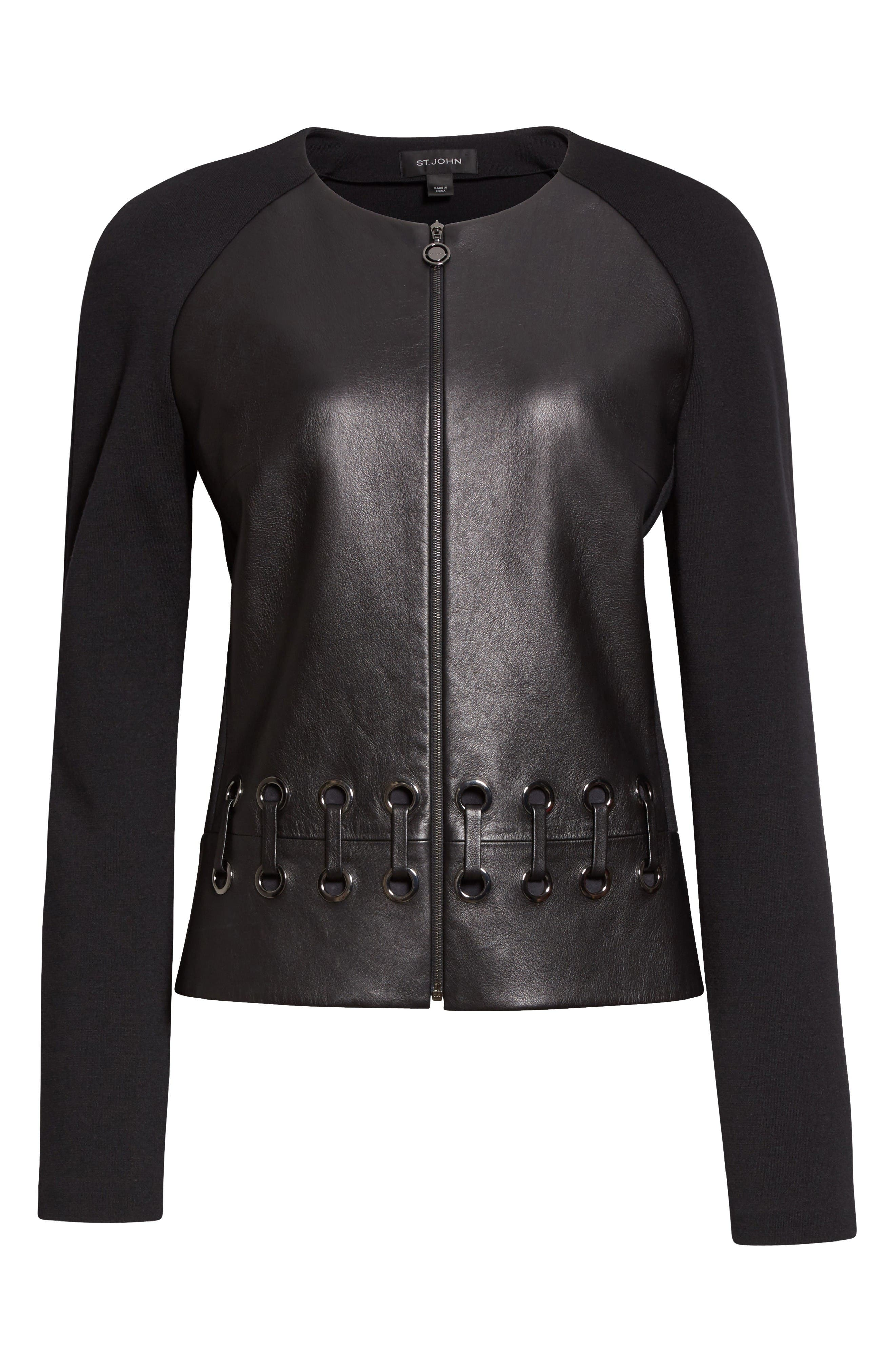 Alternate Image 6  - St. John Collection Leather Front Milano Knit Jacket