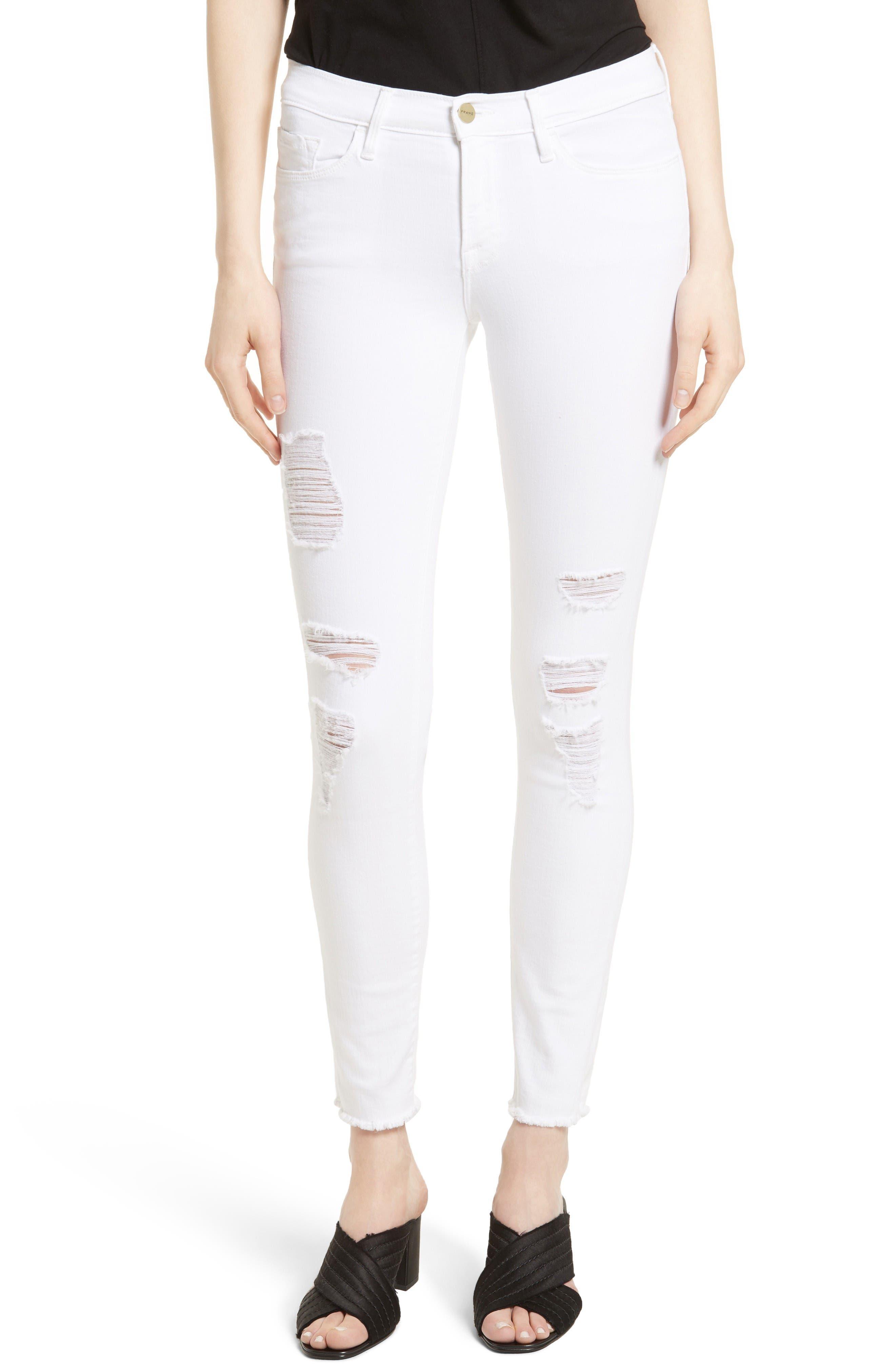 Main Image - FRAME 'Le Skinny de Jeanne' Ripped Jeans (Noir Jefferson) (Nordstrom Exclusive)