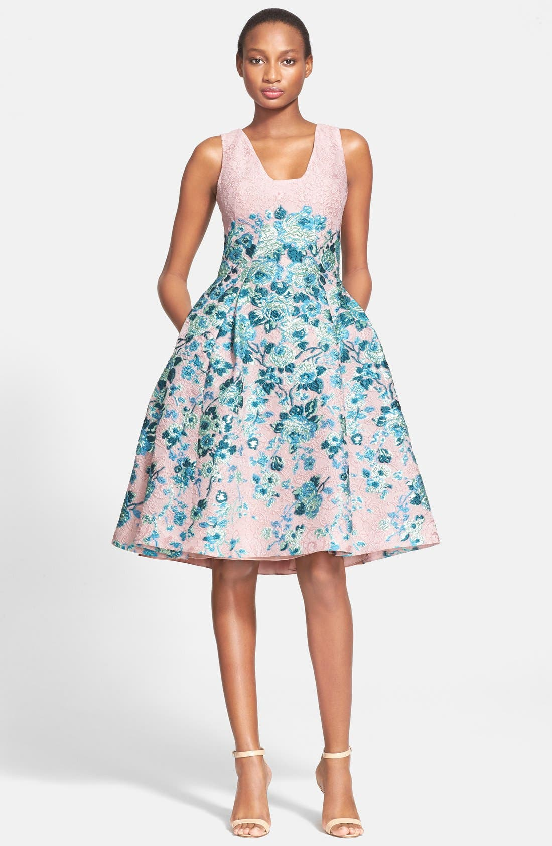 Main Image - Lela Rose Flower Jacquard A-Line Dress