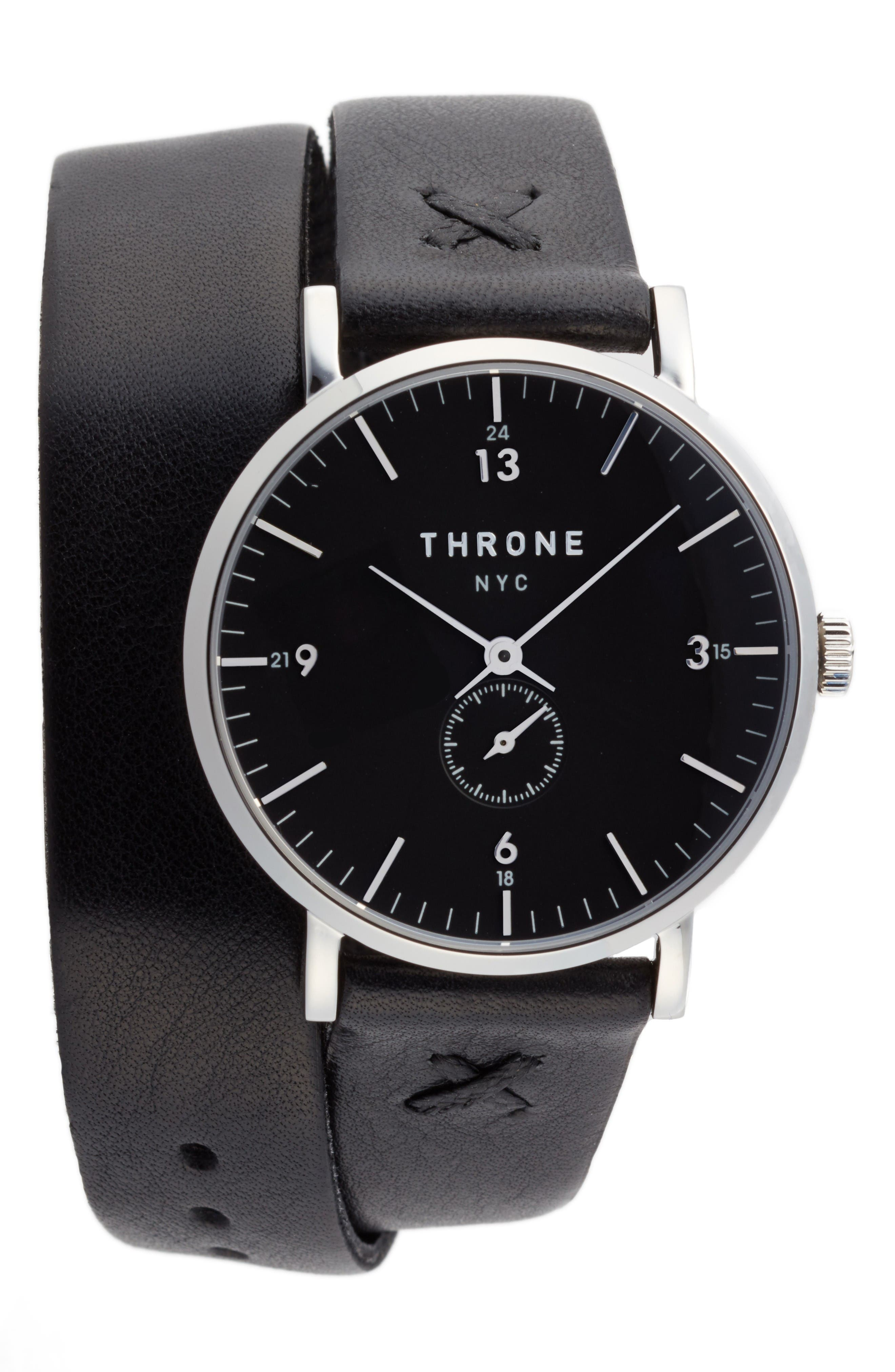1.0 Leather Wrap Strap Watch, 36mm,                         Main,                         color, Black/ Silver