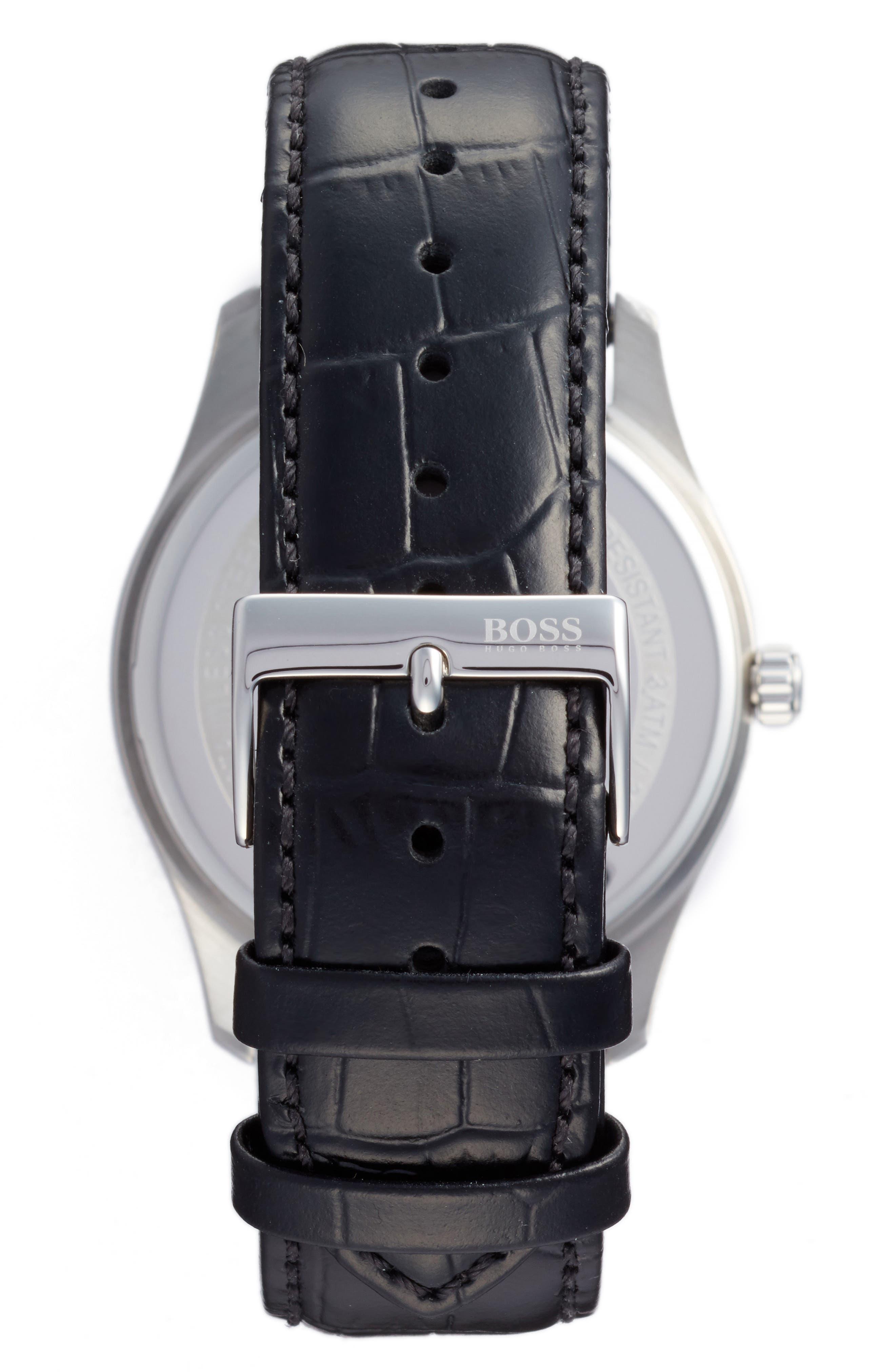 Commander Multifunction Leather Strap Watch, 41mm,                             Alternate thumbnail 2, color,                             Blue/ Black