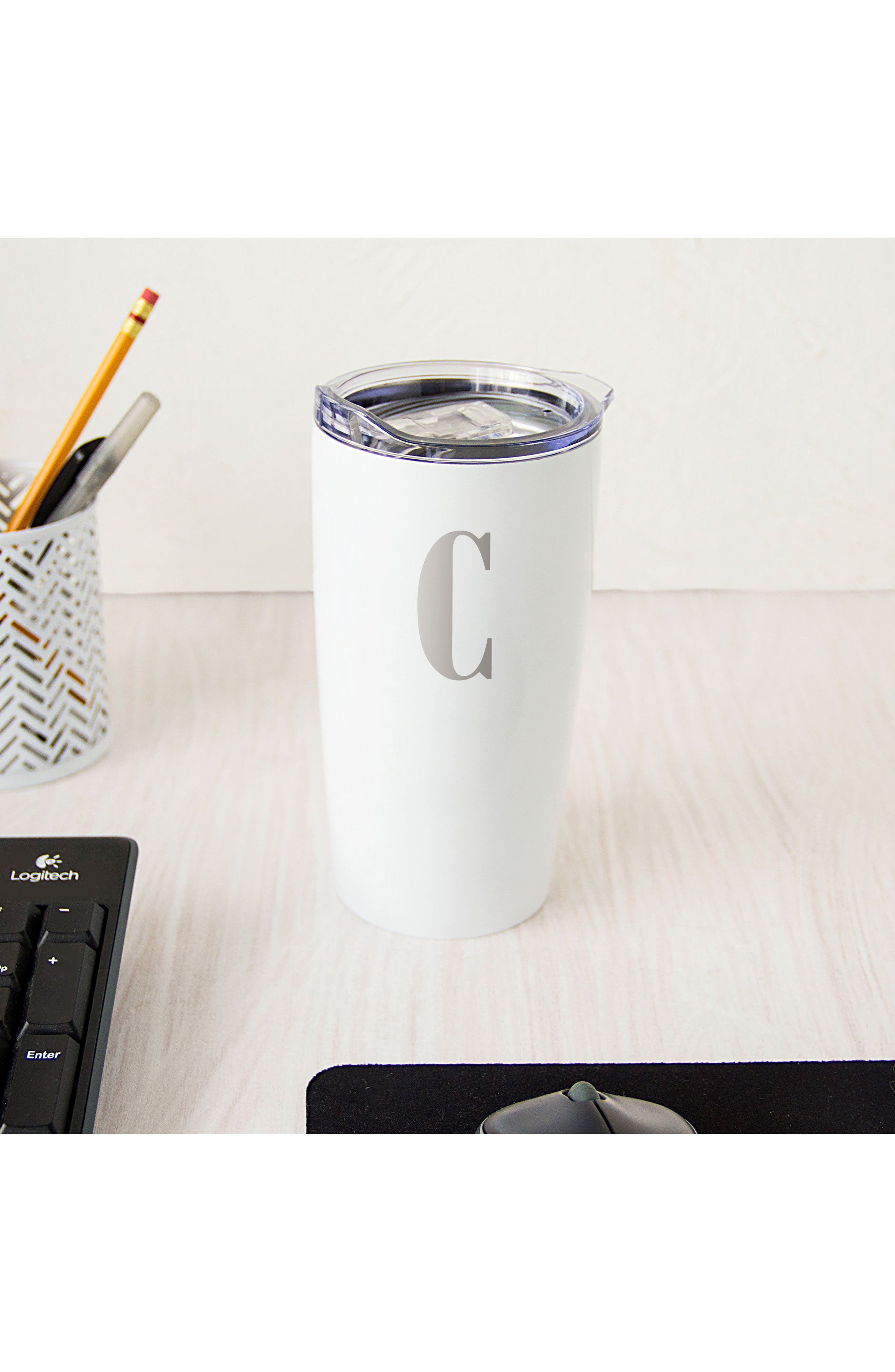 Alternate Image 4  - Cathy's Concepts Monogram Stainless Steel Tumbler