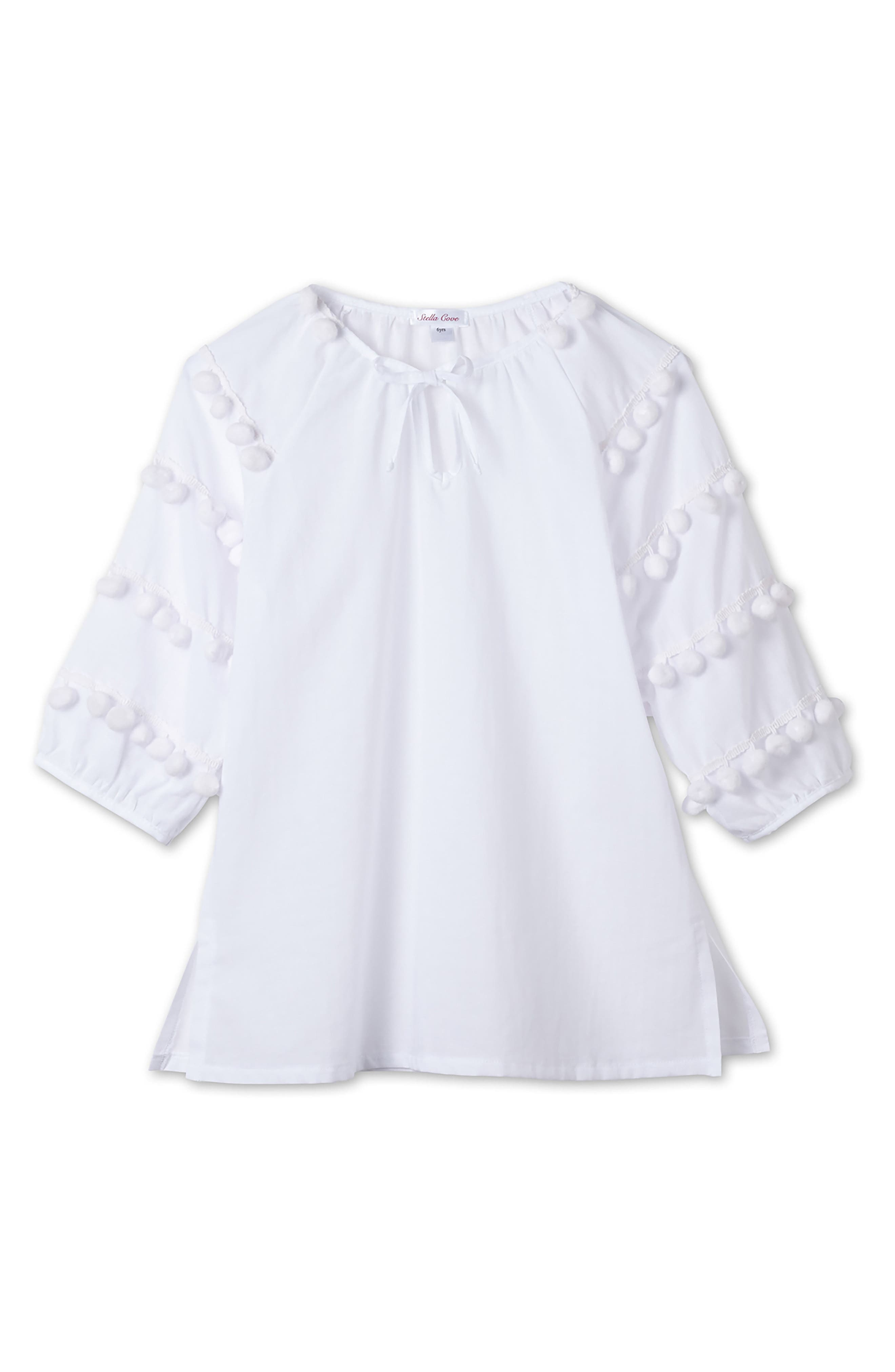 Pompom Caftan Cover-Up,                         Main,                         color, White