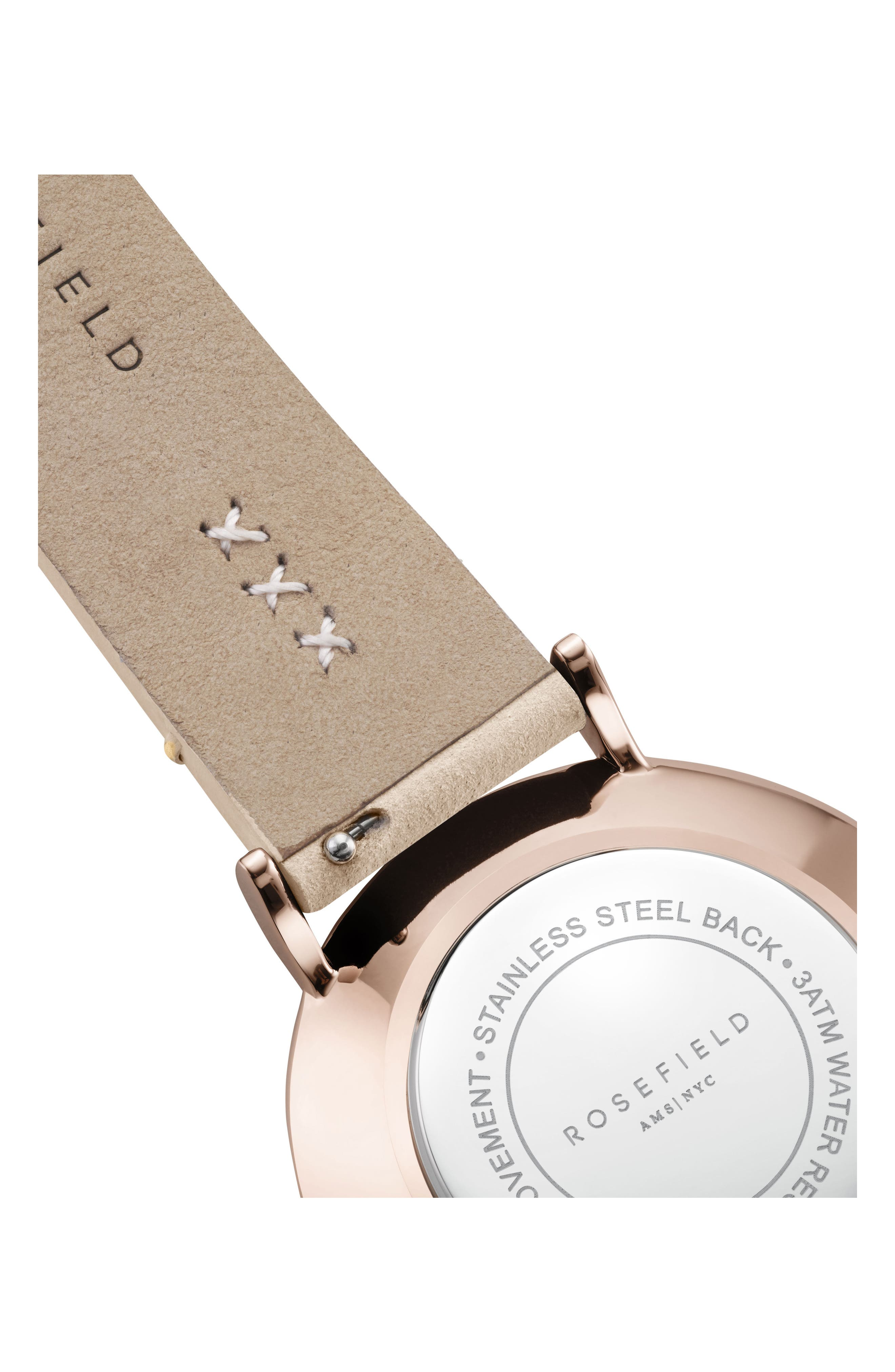 West Village Leather Strap Watch, 33mm,                             Alternate thumbnail 4, color,                             Soft Pink/ White/ Rose Gold