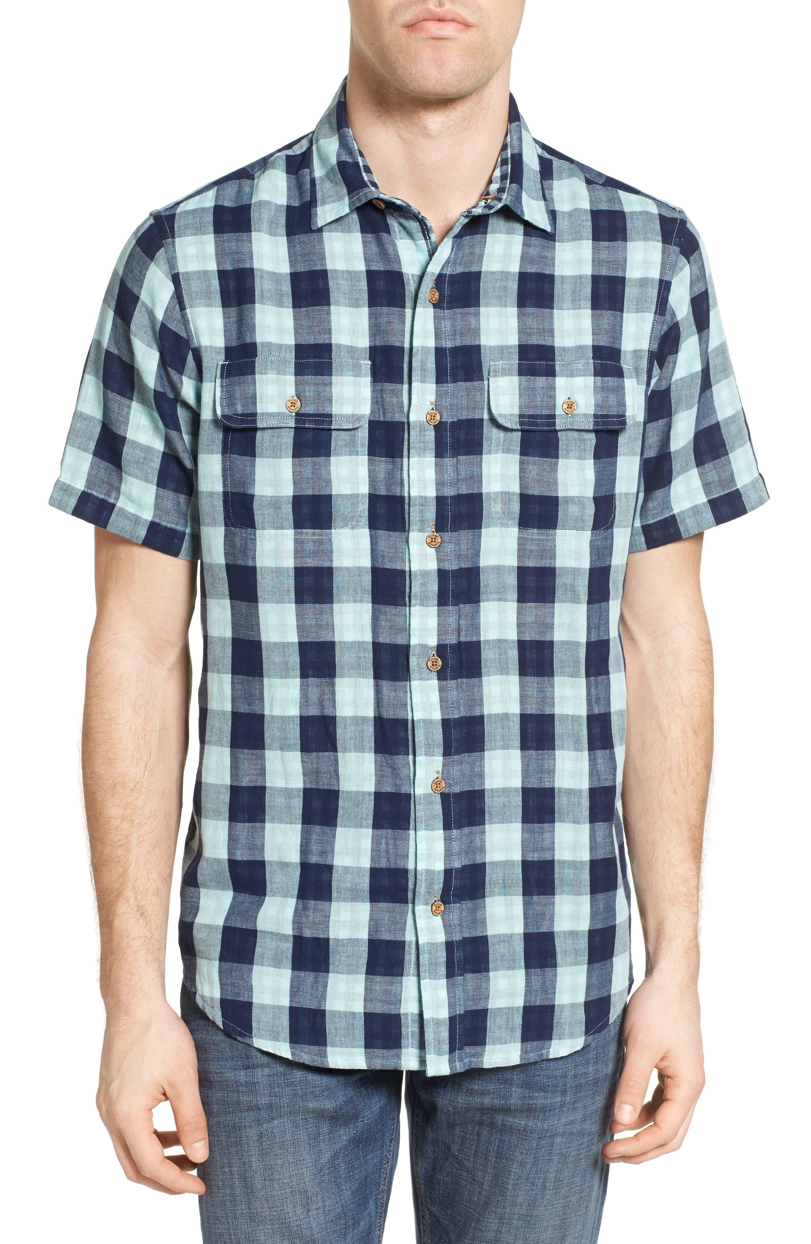 Buffalo Plaid Sport Shirt,                         Main,                         color, Canal Blue