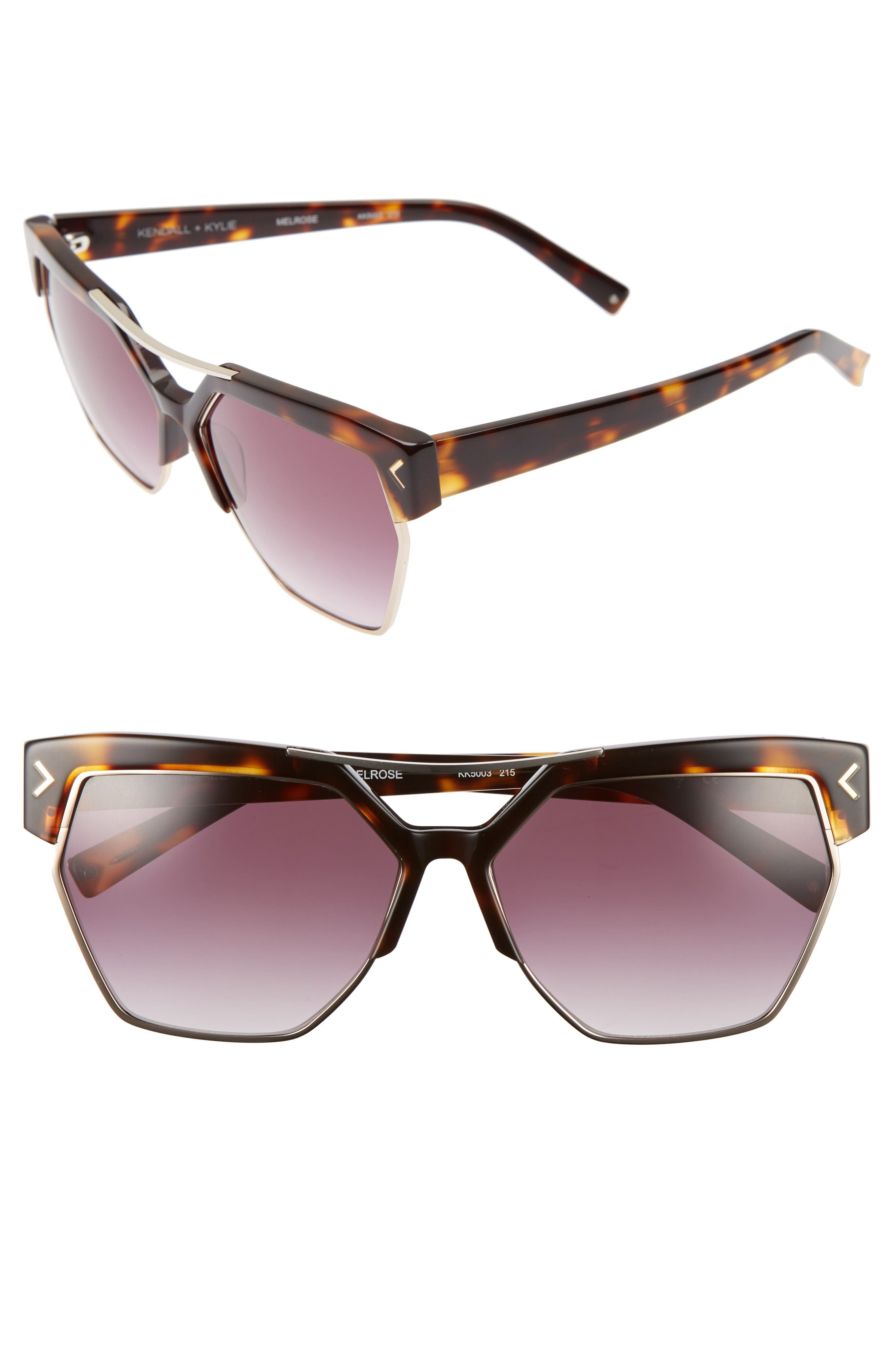 55mm Retro Sunglasses,                         Main,                         color, Dark Demi/ Shiny Gold
