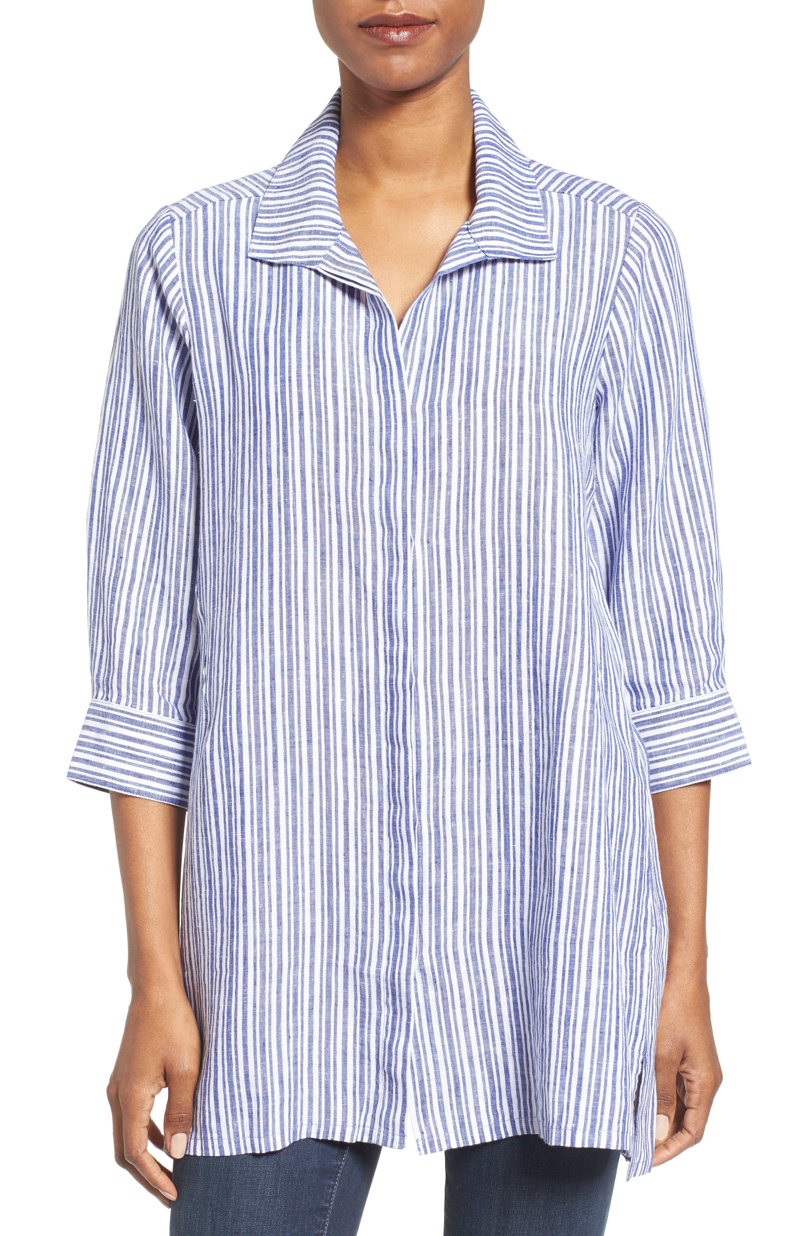 Stripe Linen Tunic,                         Main,                         color, Blue Lagoon