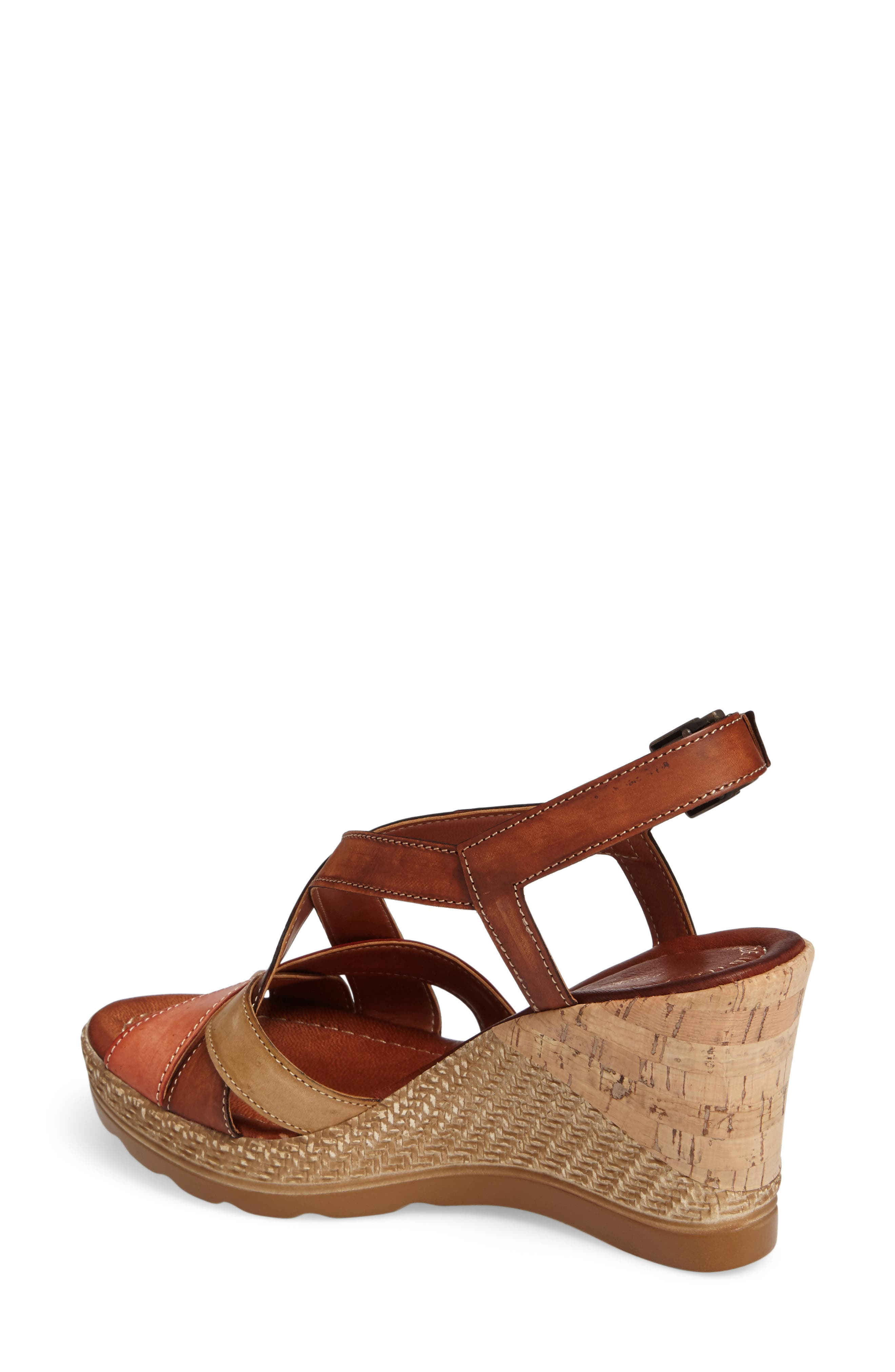 Modena Wedge Sandal,                             Alternate thumbnail 2, color,                             Cognac Leather