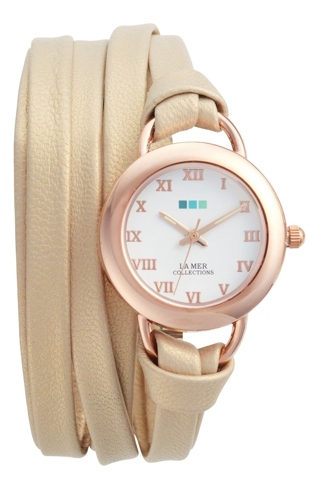 Saturn Wrap Leather Strap Watch, 25mm,                             Main thumbnail 1, color,                             Tan/ White/ Rose Gold