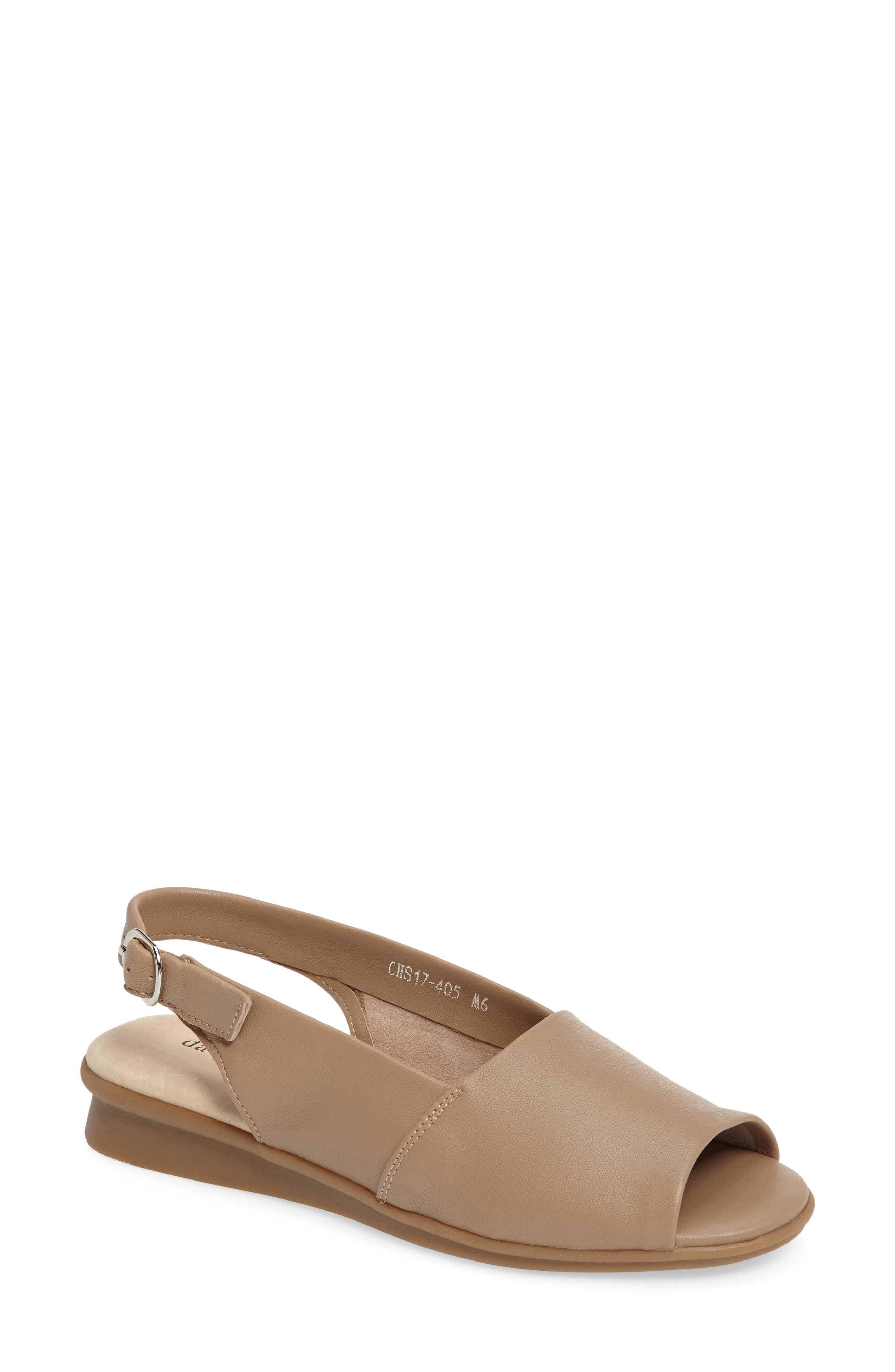 Norma Slingback Sandal,                         Main,                         color, Camel Leather