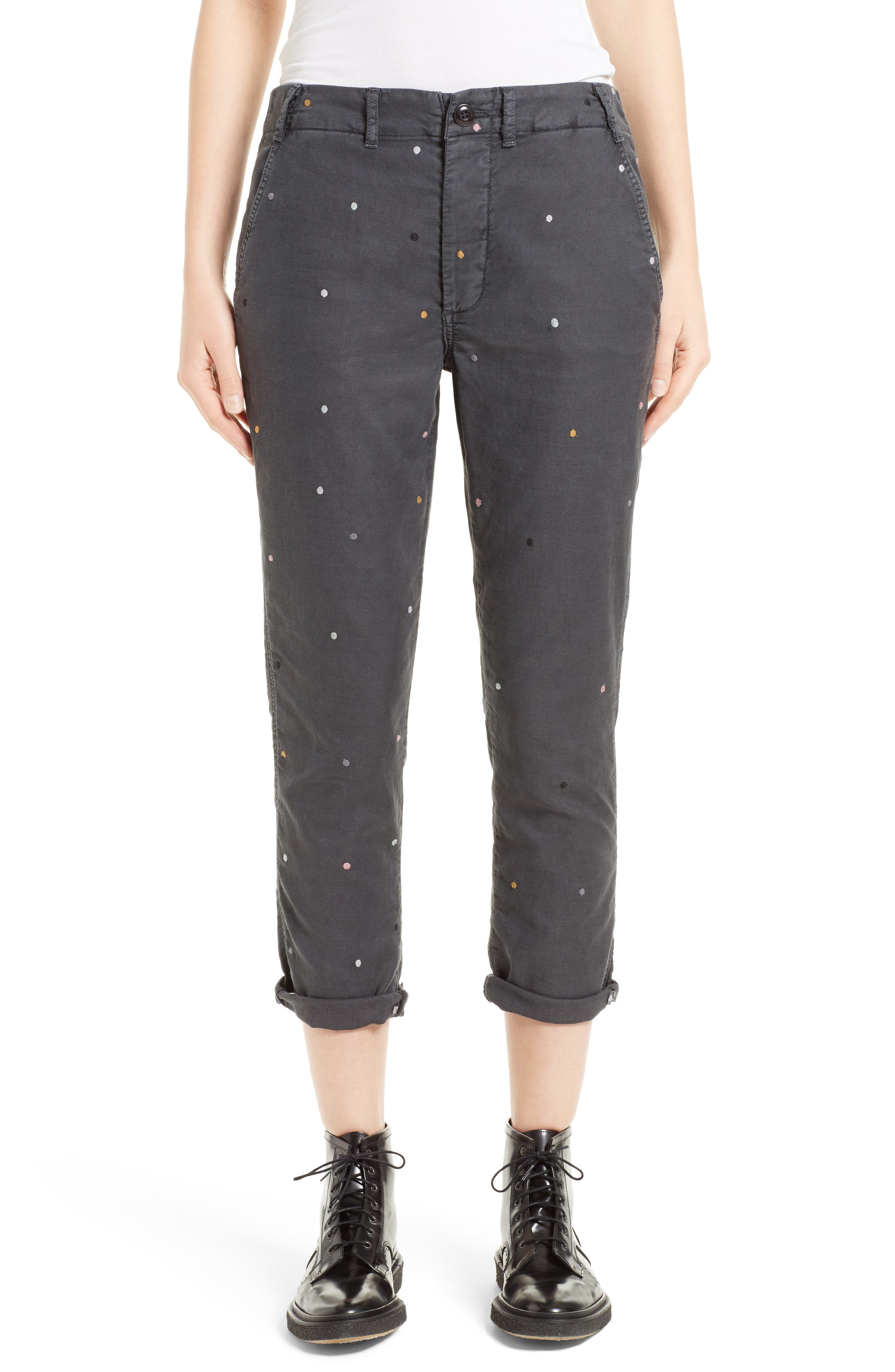 The Miner Crop Trousers,                             Main thumbnail 1, color,                             Washed Black With Multi Dot
