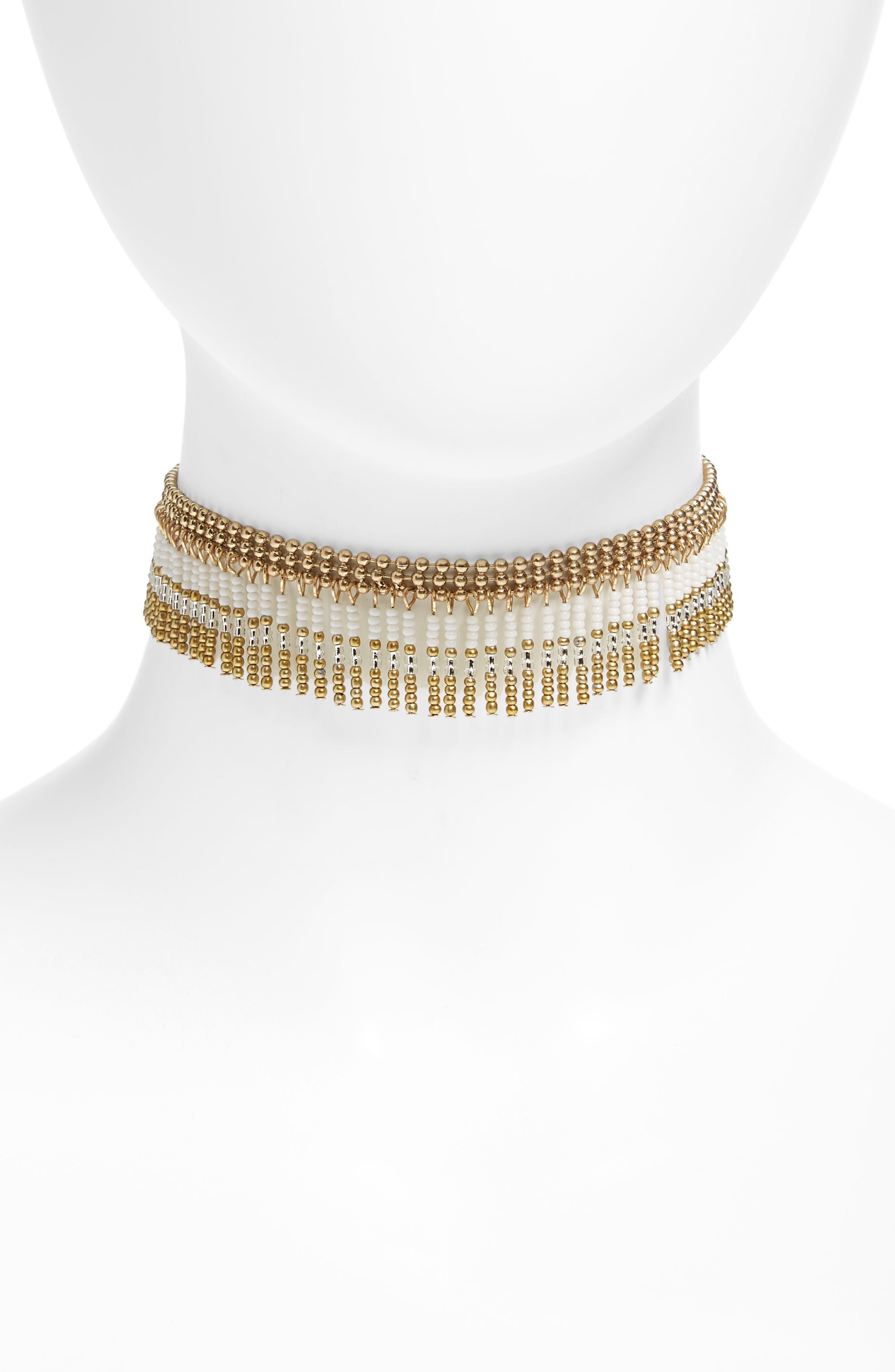 Sead Bead Fringe Choker,                         Main,                         color, White- Gold
