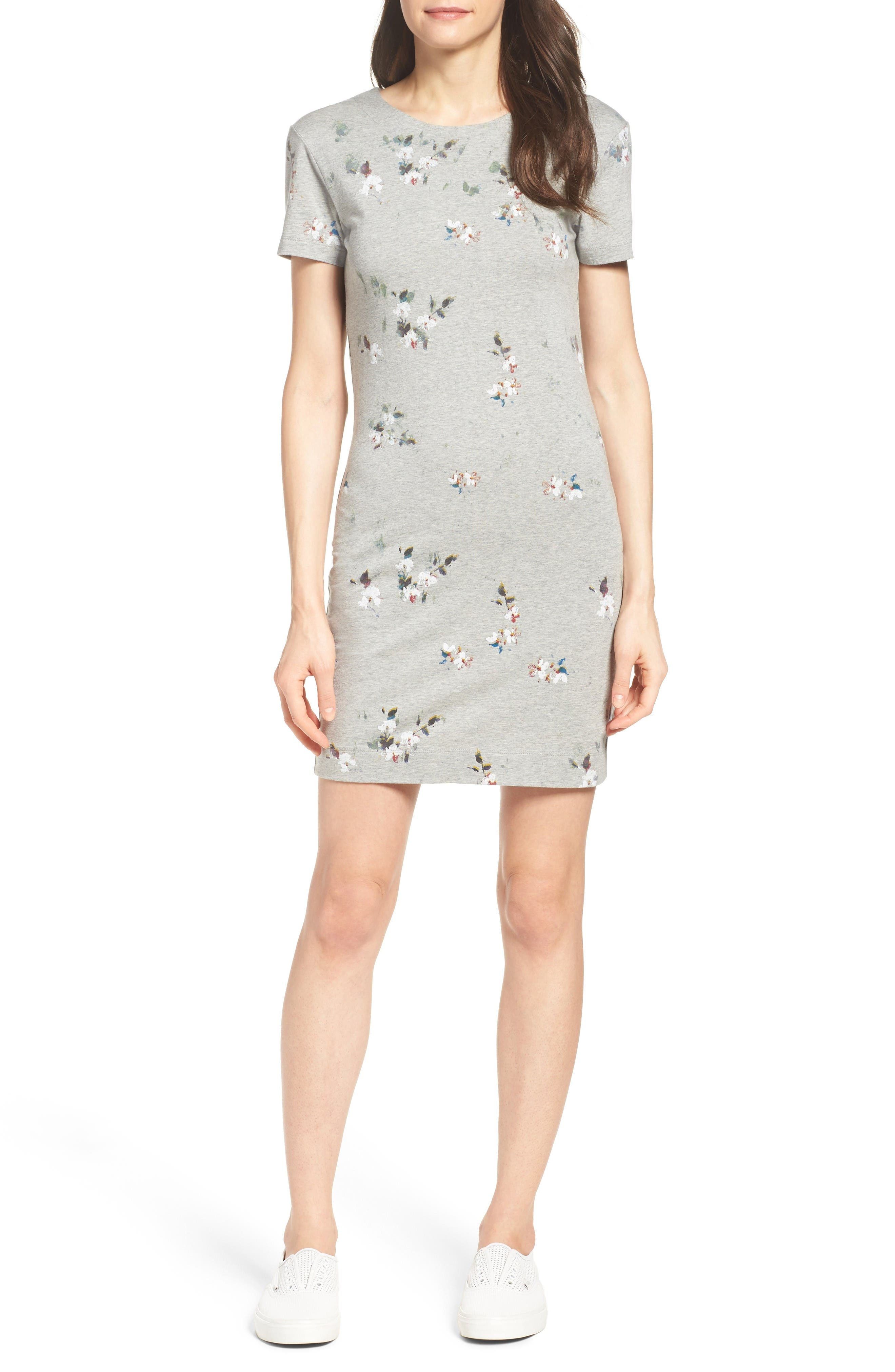 Blossom T-Shirt Dress,                             Alternate thumbnail 4, color,                             Grey