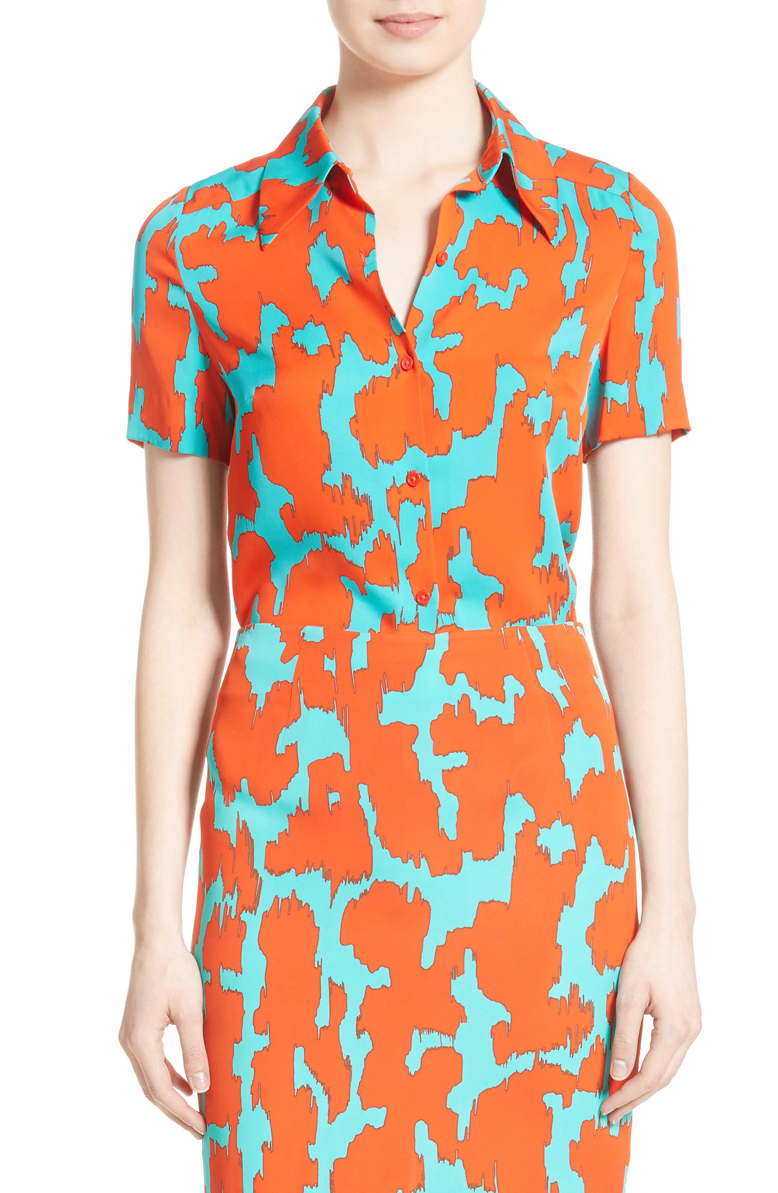 Diane von Furstenburg Print Stretch Silk Shirt,                         Main,                         color, Bold Red