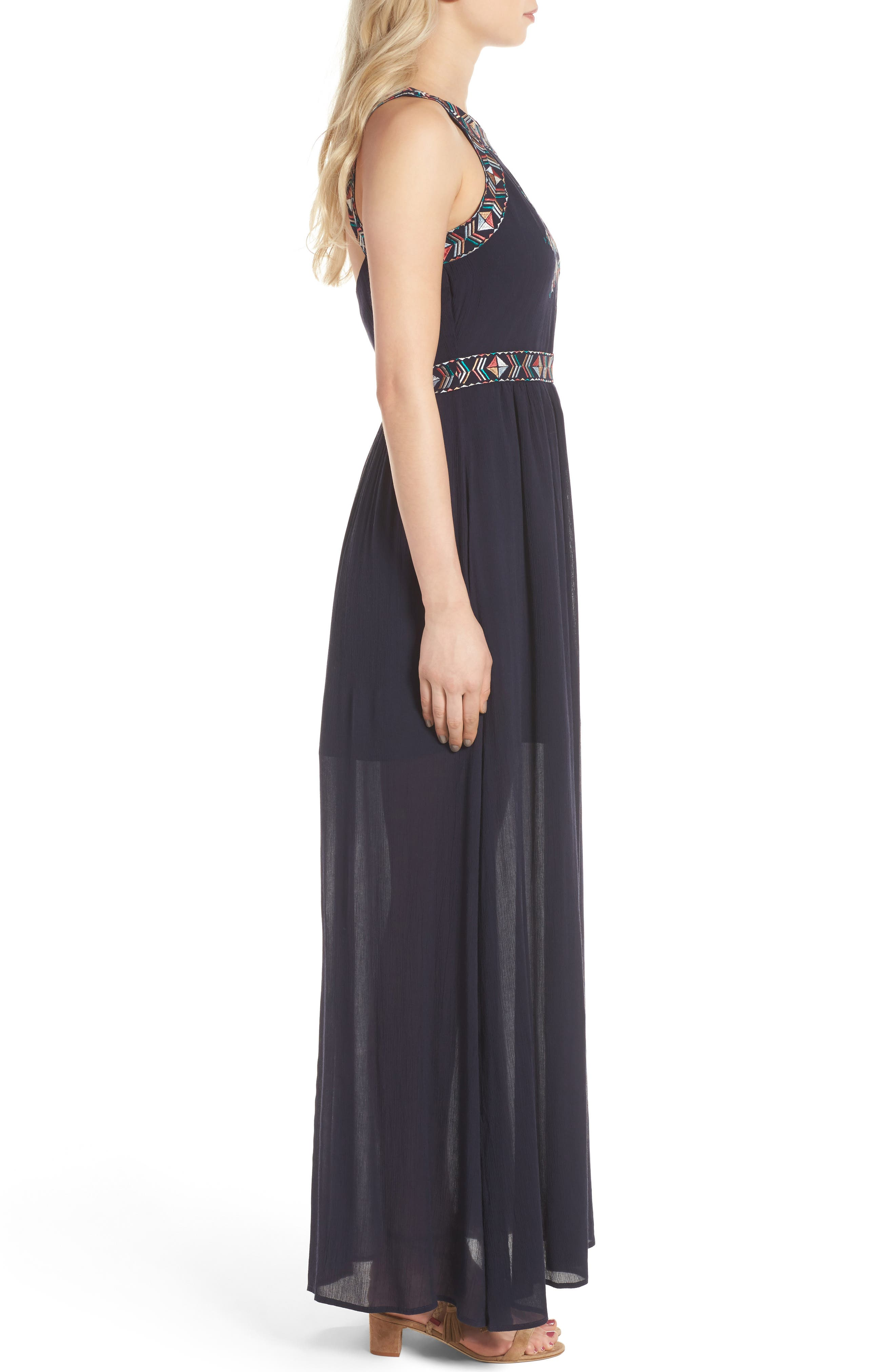Kerrine Embroidered Maxi Dress,                             Alternate thumbnail 3, color,                             Ink
