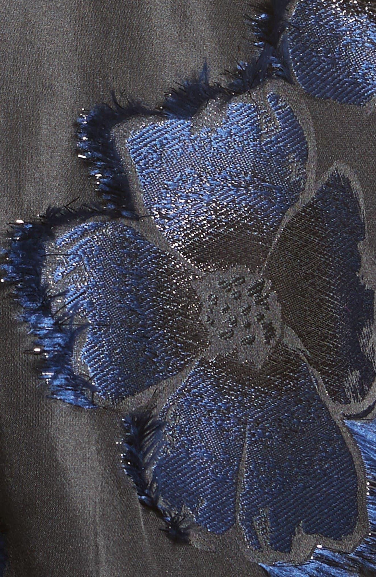 Metallic Floral Fil Coupé Top,                             Alternate thumbnail 3, color,                             Navy